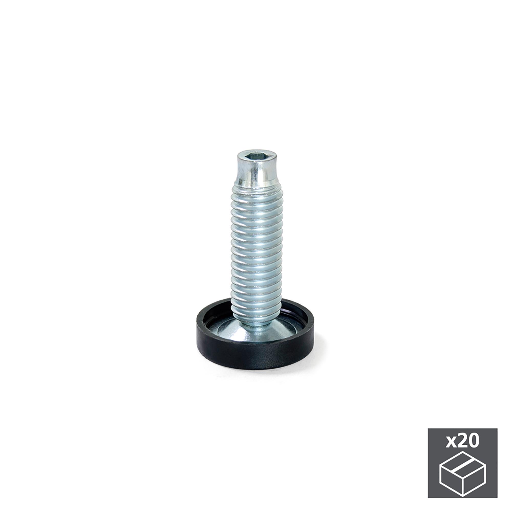 Emuca Piedino regolabile per mobile, base circolare, M 10, D. 23 mm, altezza 38 mm, Acciaio e Plastica, 20 u.