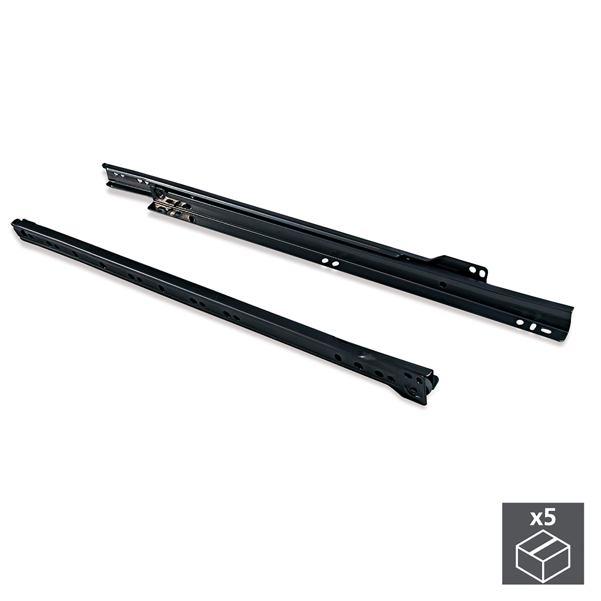 Emuca Kit Guide a rotella per cassetti, chiusura con caduta, 450 mm, a estrazione parziale, Nero, 5 u.