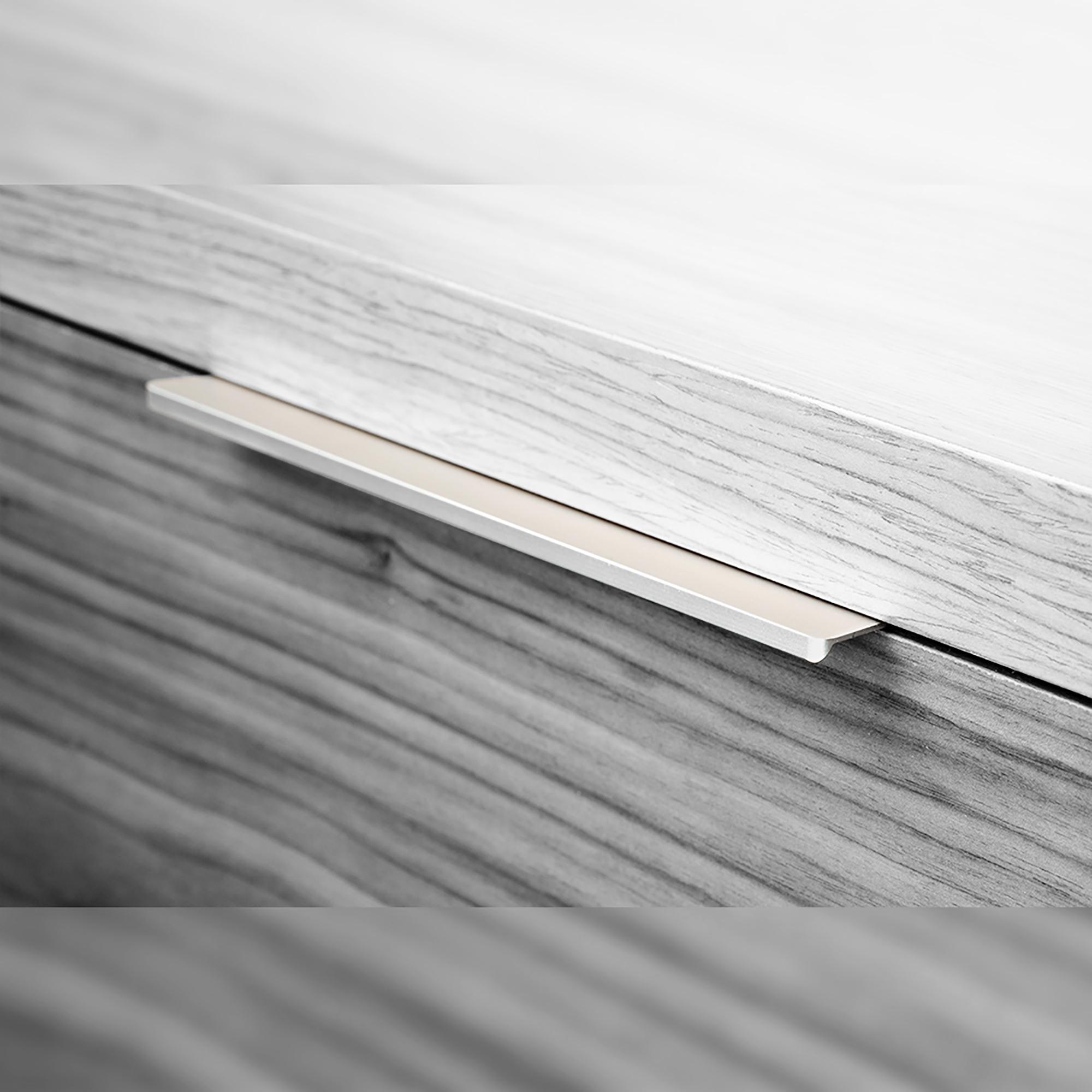 Emuca Maniglie per mobile, interasse 128 mm, Alluminio, Anodizzato opaco, 25 u.