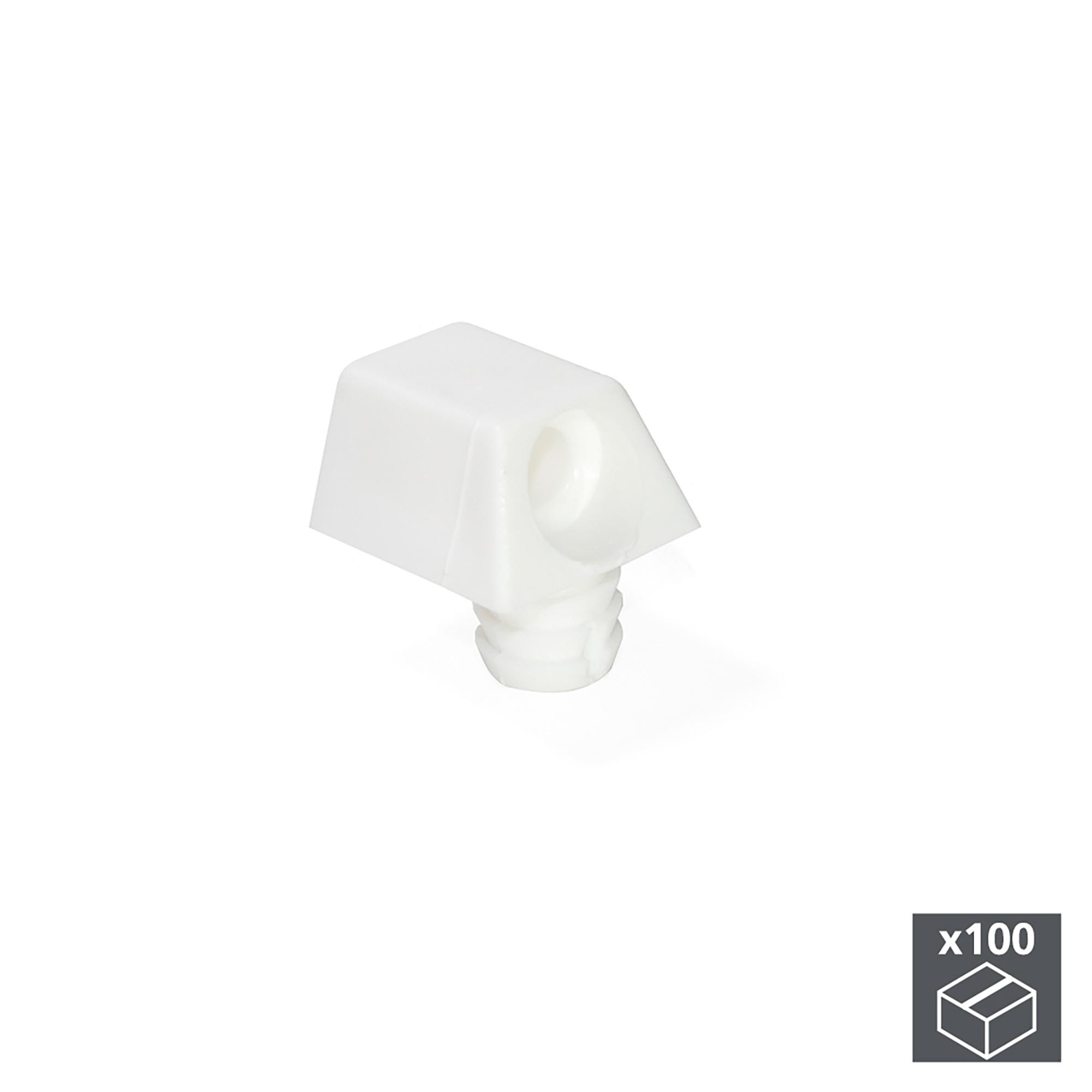 Emuca Supporto per ripiani, 12 mm, Plastica, Bianco, 100 u.
