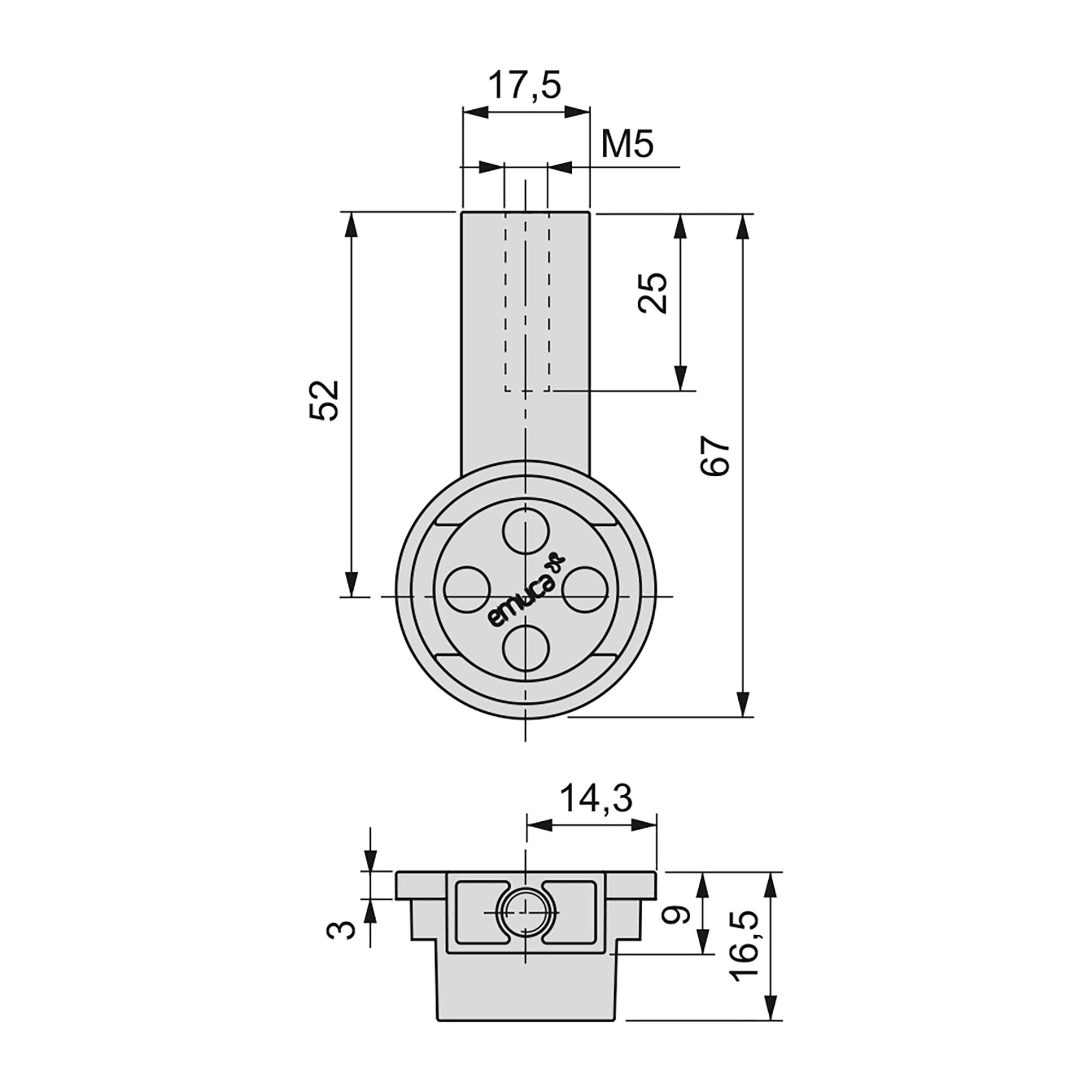 Emuca Bastone appendiabiti, rotondo, D. 28 mm, 1.400 mm, Alluminio, Color moka, 2 u.