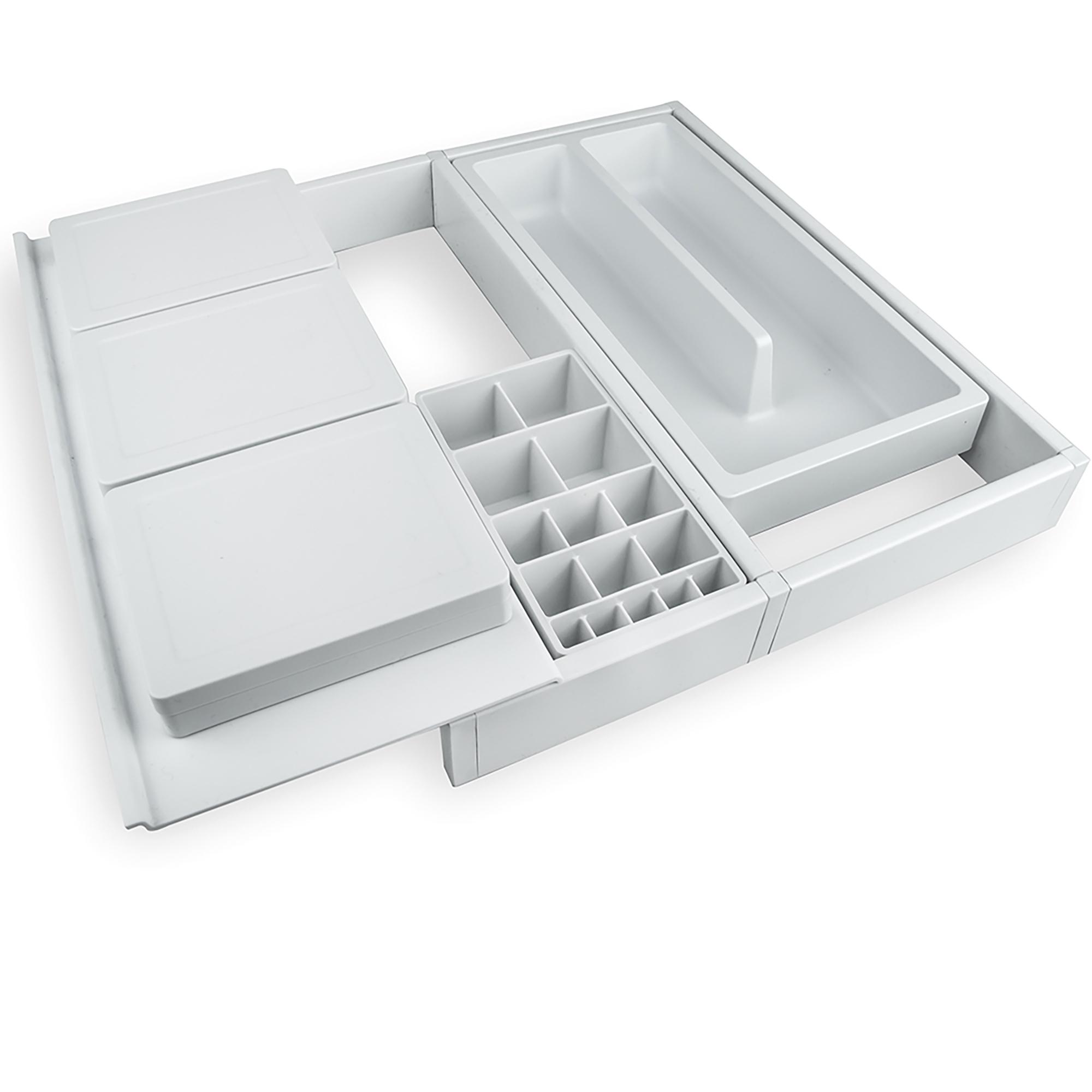 Emuca Organizzatore cassetti da bagno, regolabile 307-402 mm, Plastica, Bianco