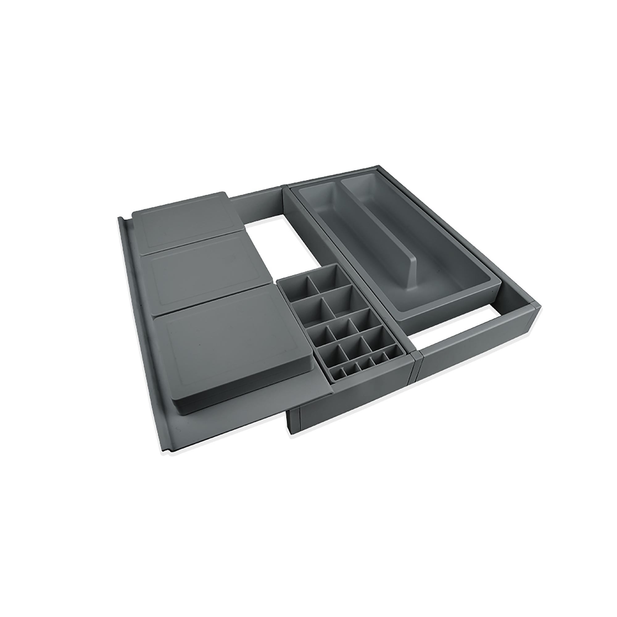 Emuca Organizzatore cassetti da bagno, regolabile 307-402 mm, Plastica, Grigio antracite