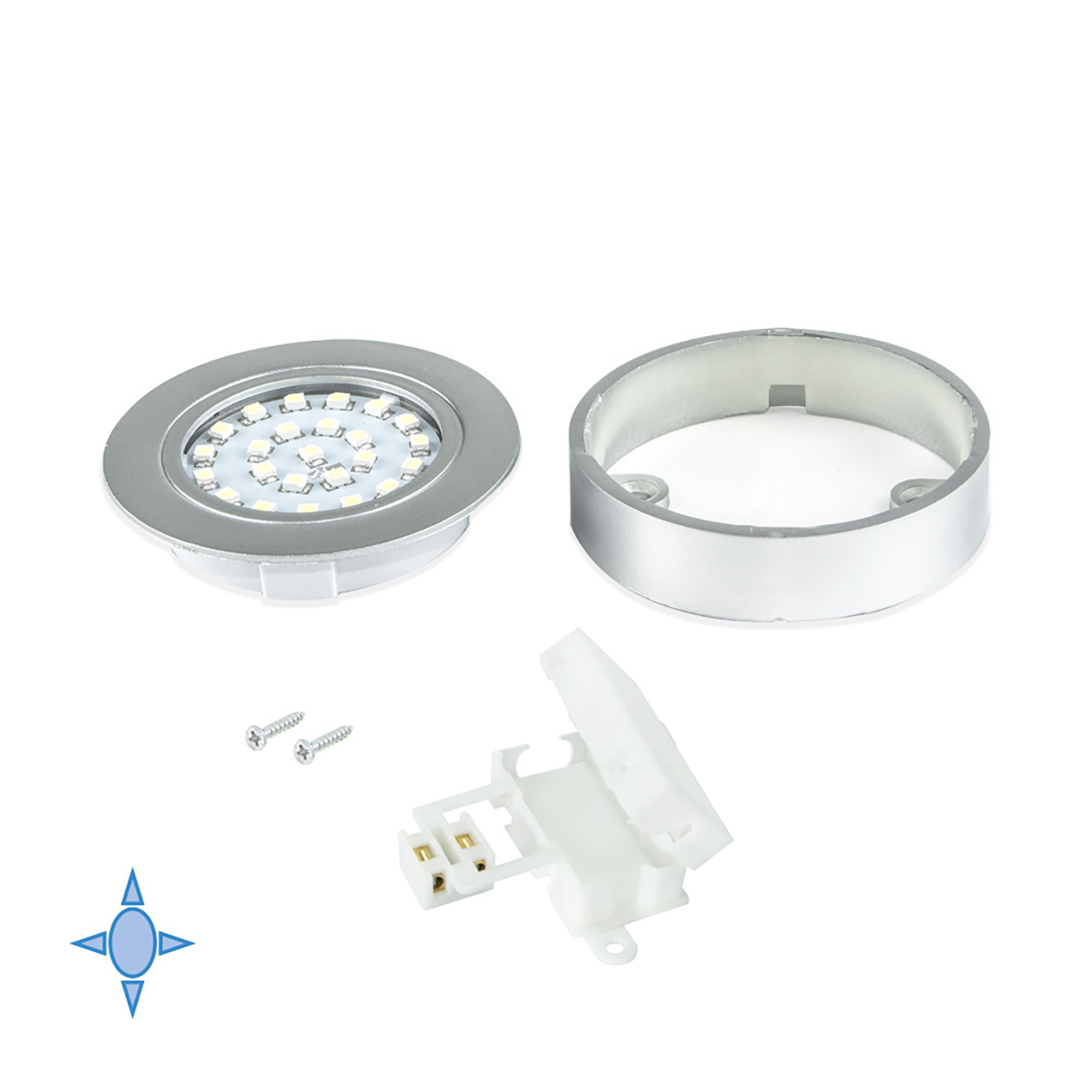 Emuca Faretto LED con supporto, D. 65 mm, Luce bianca fredda, Plastica, Grigio metallizzato