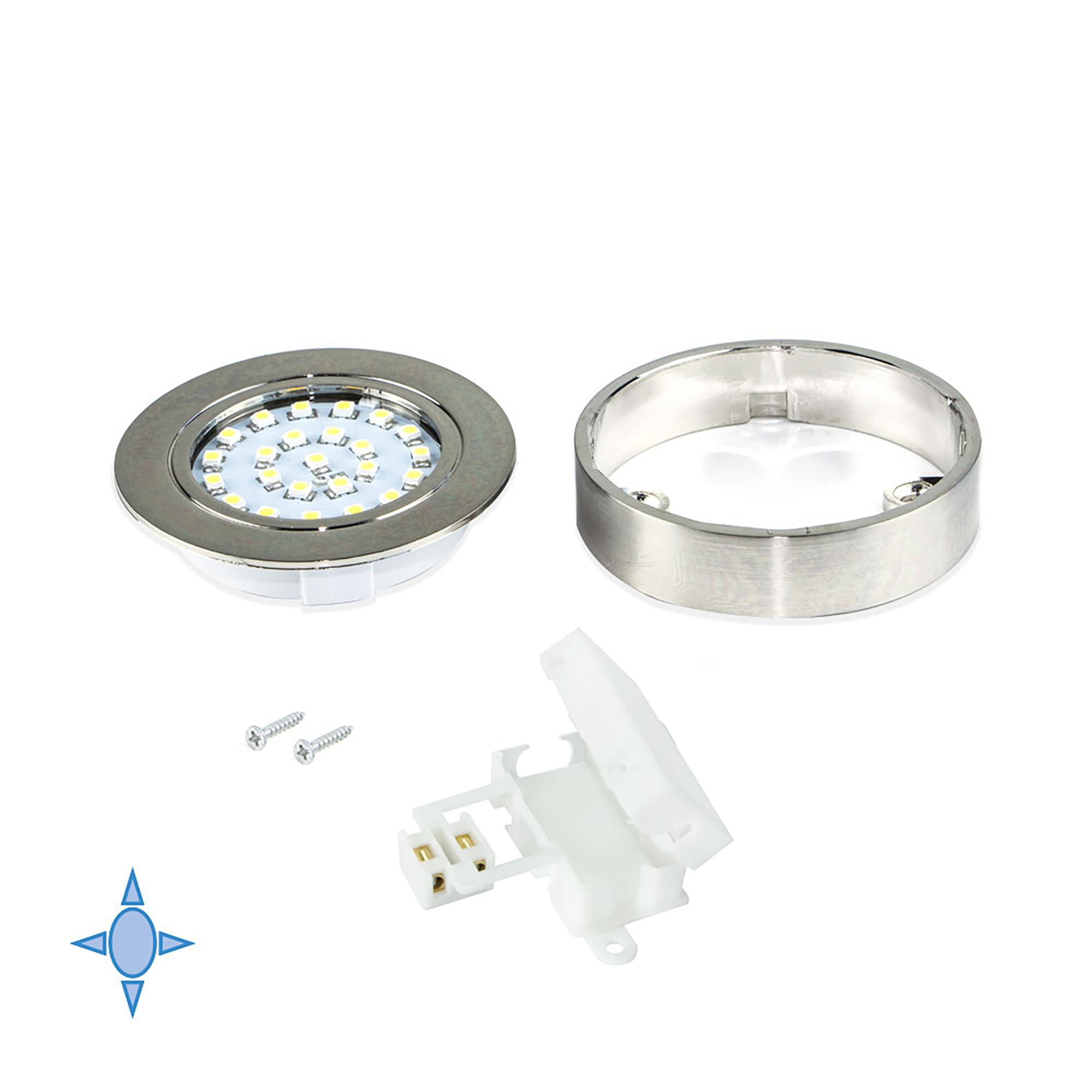Emuca Faretto LED con supporto, D. 65 mm, Luce bianca fredda, Plastica, Nichel satinato