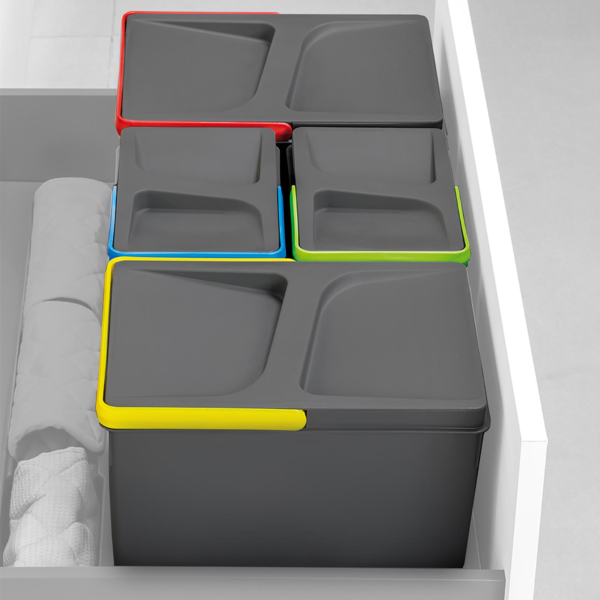 Emuca Contenitori per raccolta differenziata, 12 L +12 L + 6 L + 6 L, modulo 900 mm, Plastica, Grigio antracite, 4 u. + Base