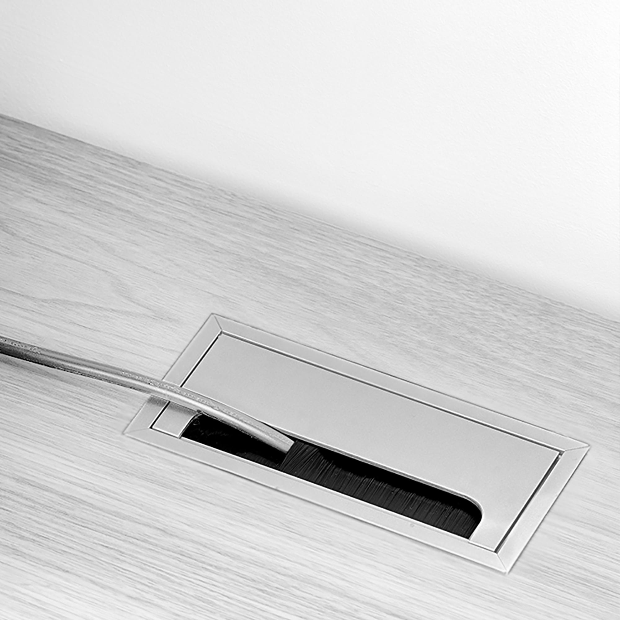 Emuca Passacavi da tavolo, rettangolare, 269 x 80 mm, a incasso, Alluminio, Anodizzato opaco, 5 u.