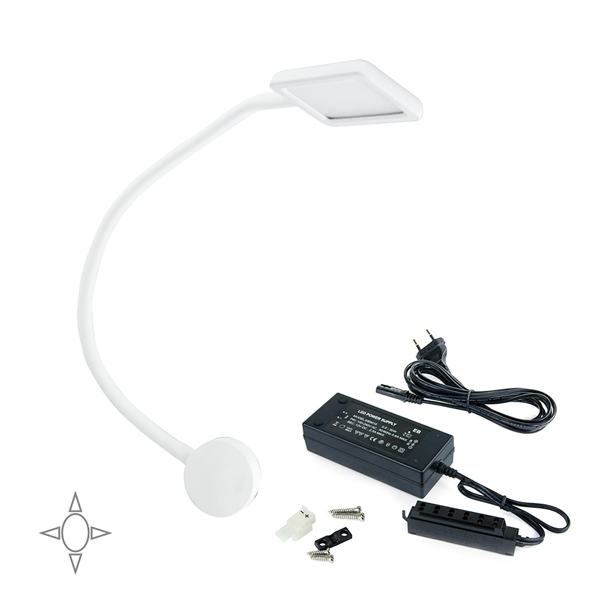 Emuca Applique LED, quadrato, braccio flessibile, sensore touch, 2 USB, Luce bianca naturale, Plastica, Bianco, + Convertitore 3