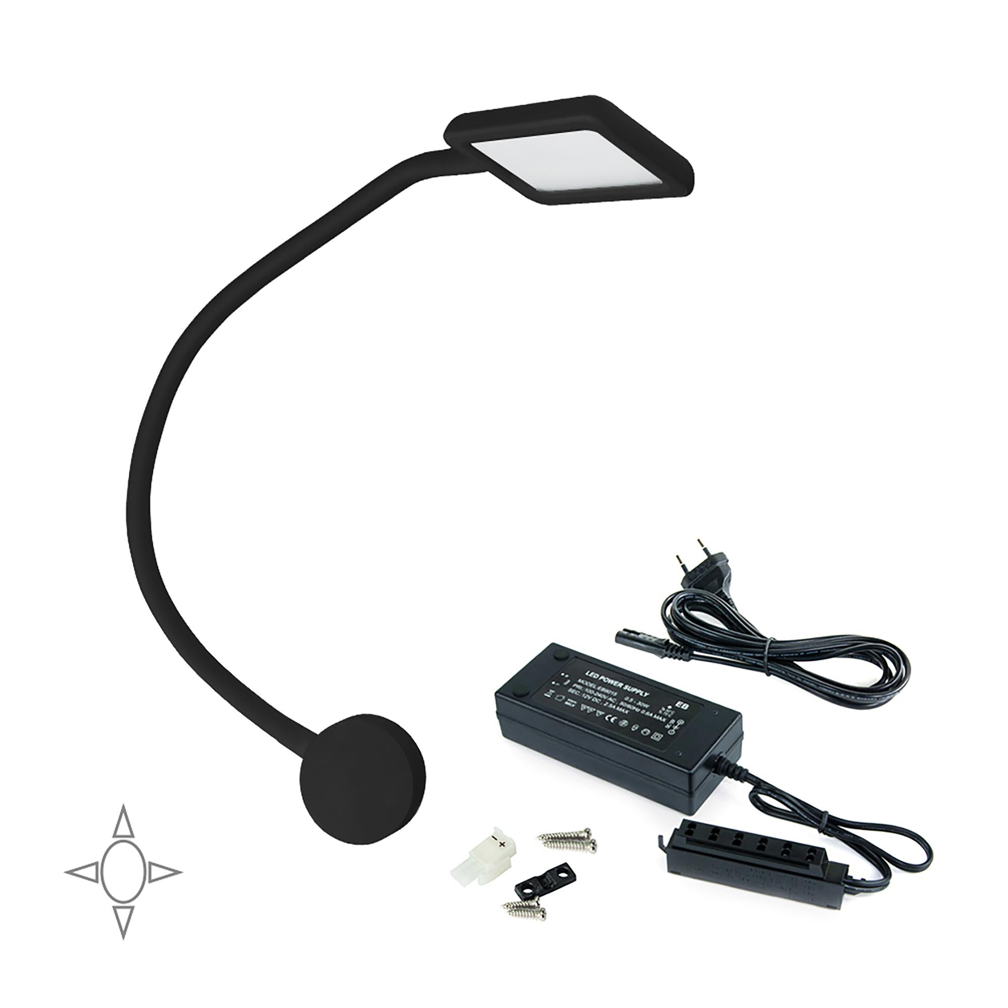 Emuca Applique LED, quadrato, braccio flessibile, sensore touch, 2 USB, Luce bianca naturale, Plastica, Nero + Convertitore 30 W