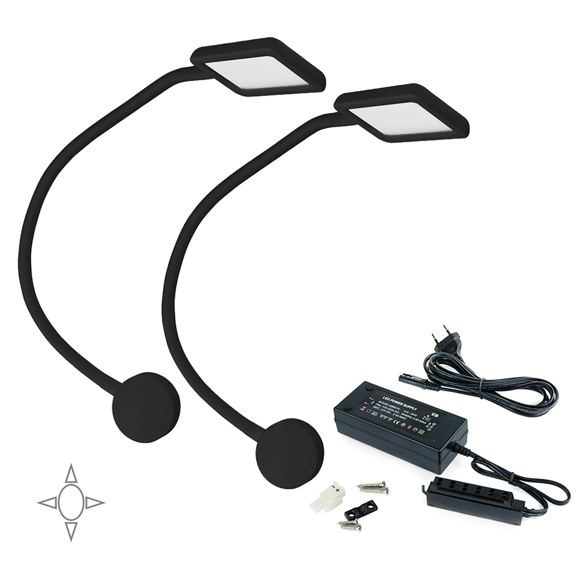 Emuca Applique LED, quadrato, braccio flessibile, sensore touch, 2 USB, Luce bianca naturale, Plastica, Nero, + Convertitore 50