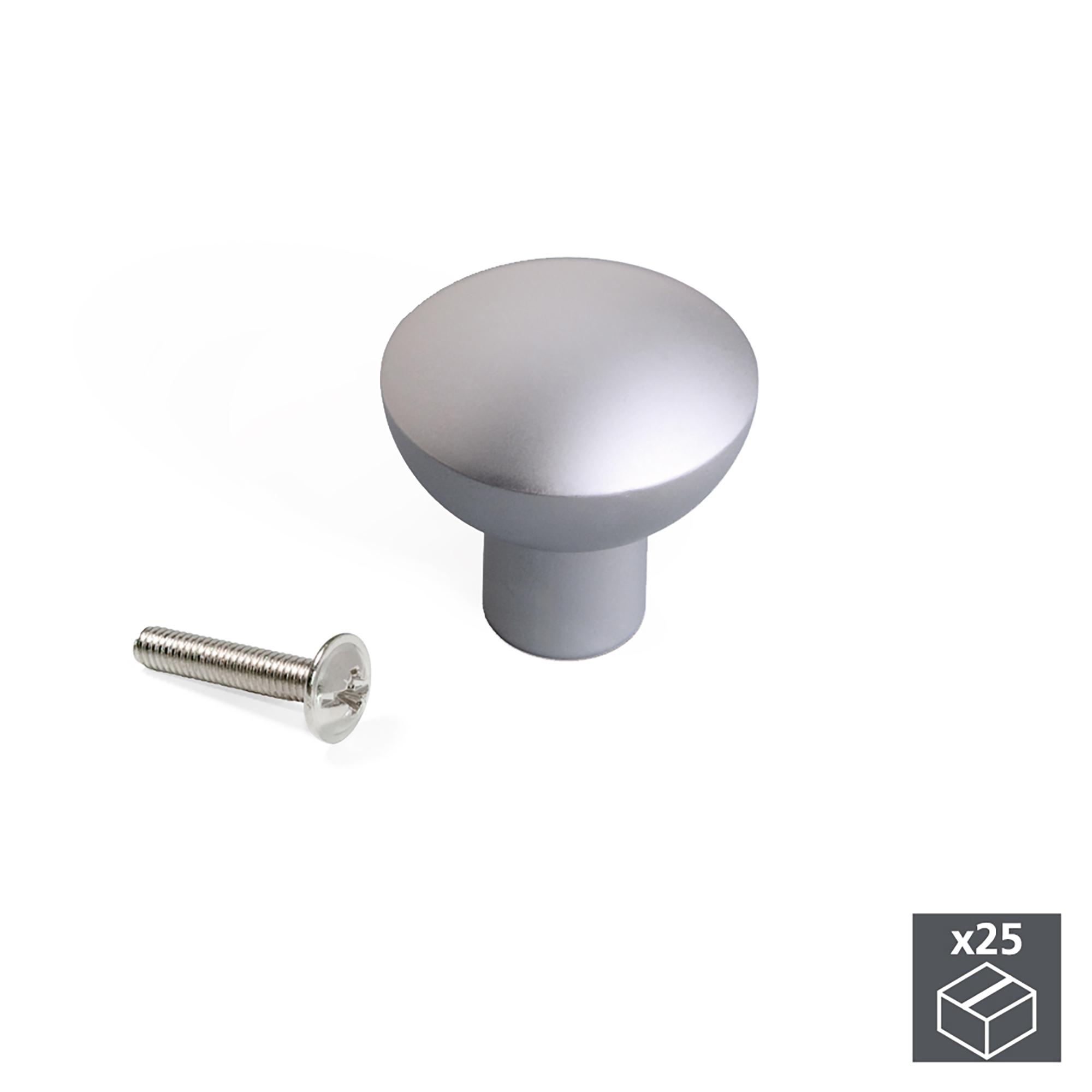 Emuca Pomolo per mobile, D. 25 mm, Alluminio, Anodizzato opaco, 25 u.