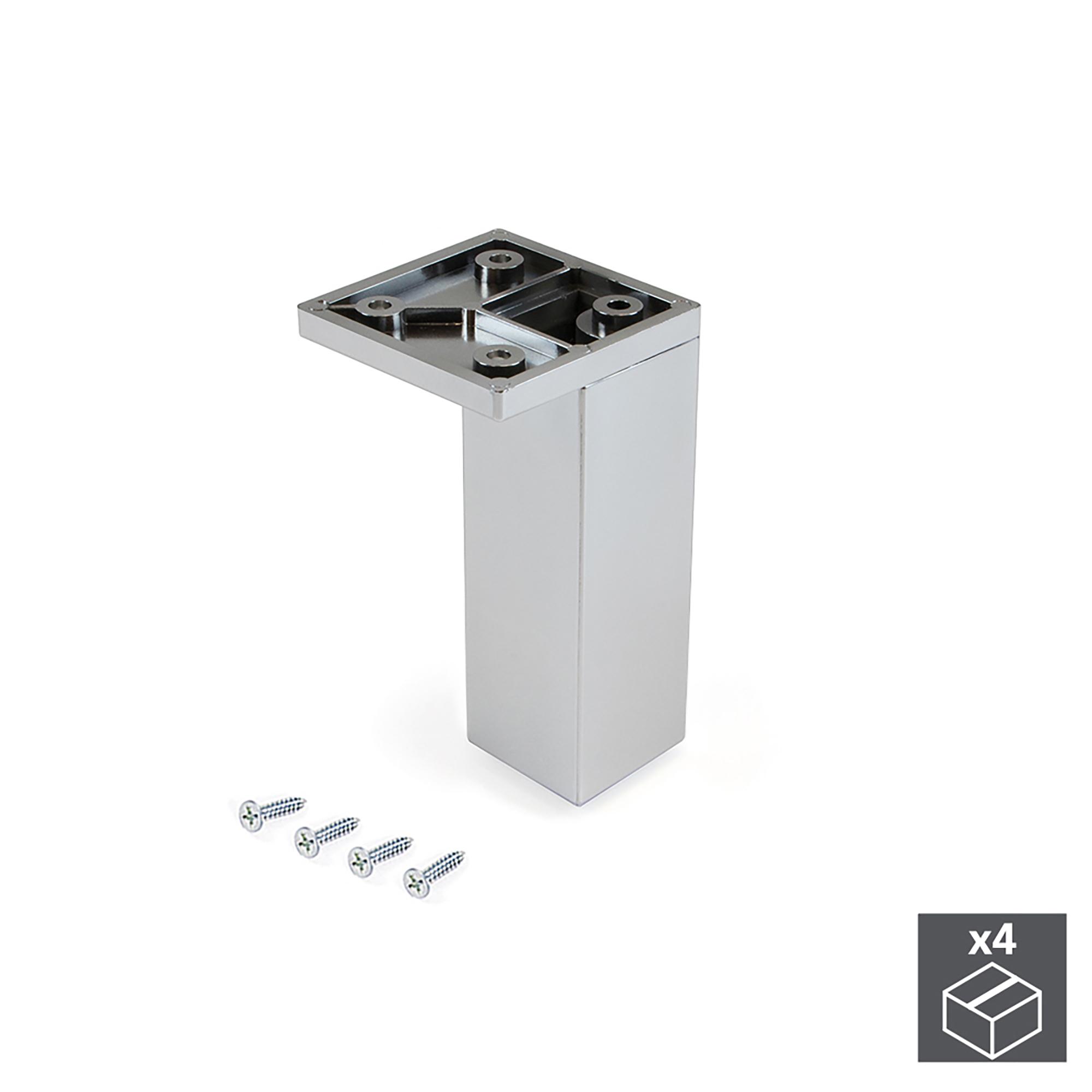 Emuca Piedino per mobile, angolo, regolabile, 100 - 110 mm, Plastica, Cromato, 4 un.