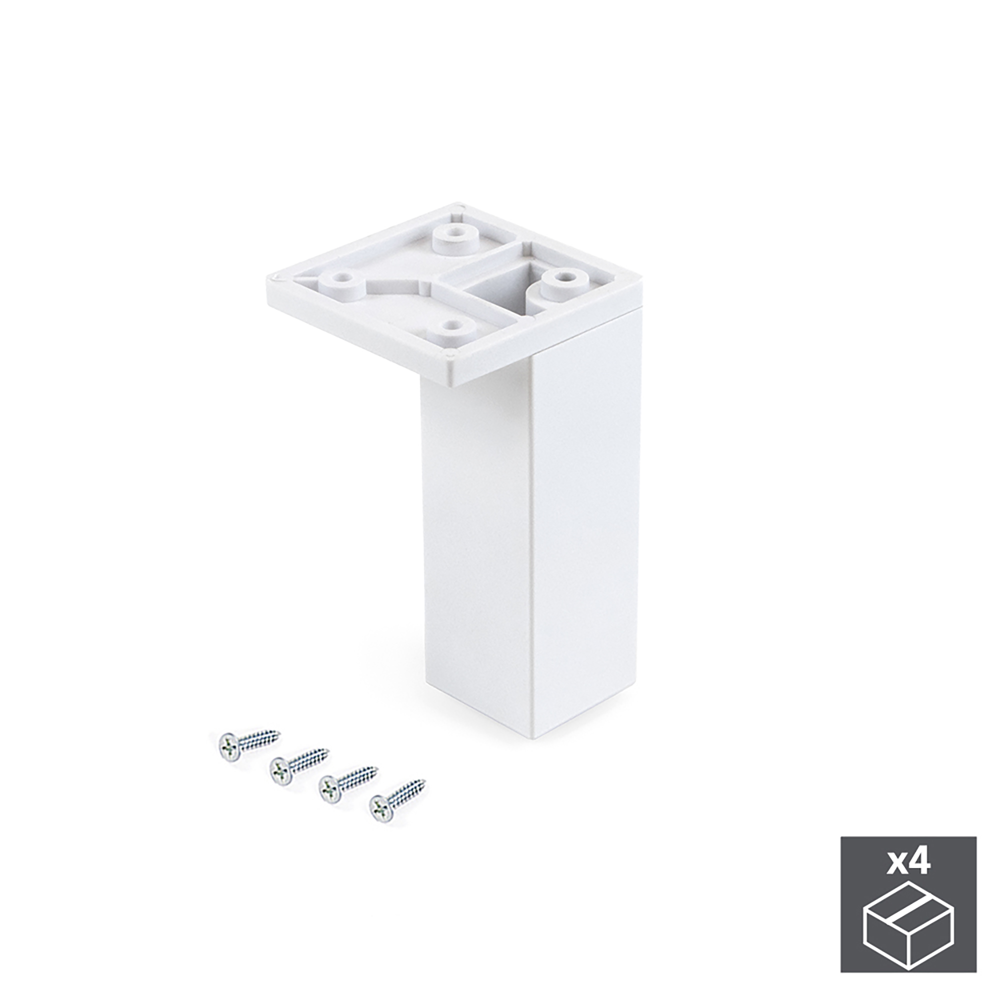 Emuca Piedino per mobile, angolo, regolabile, 100 - 110 mm, Plastica, Bianco, 4 un.