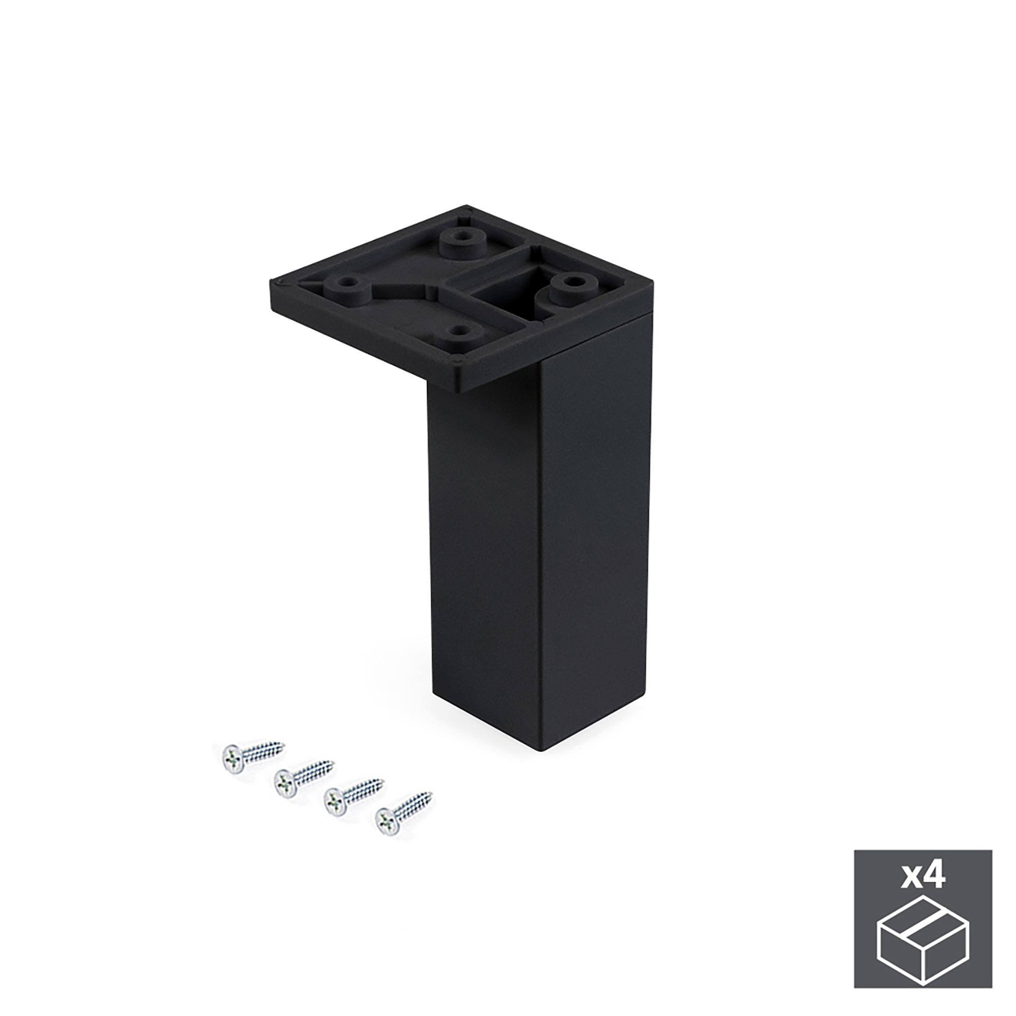 Emuca Piedino per mobile, angolo, regolabile, 100 - 110 mm, Plastica, Nero, 4 un.