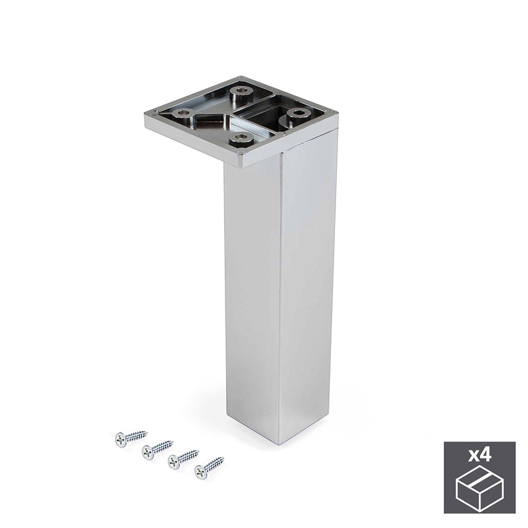 Emuca Piedino per mobile, angolo, regolabile, 140 - 150 mm, Plastica, Cromato, 4 un.