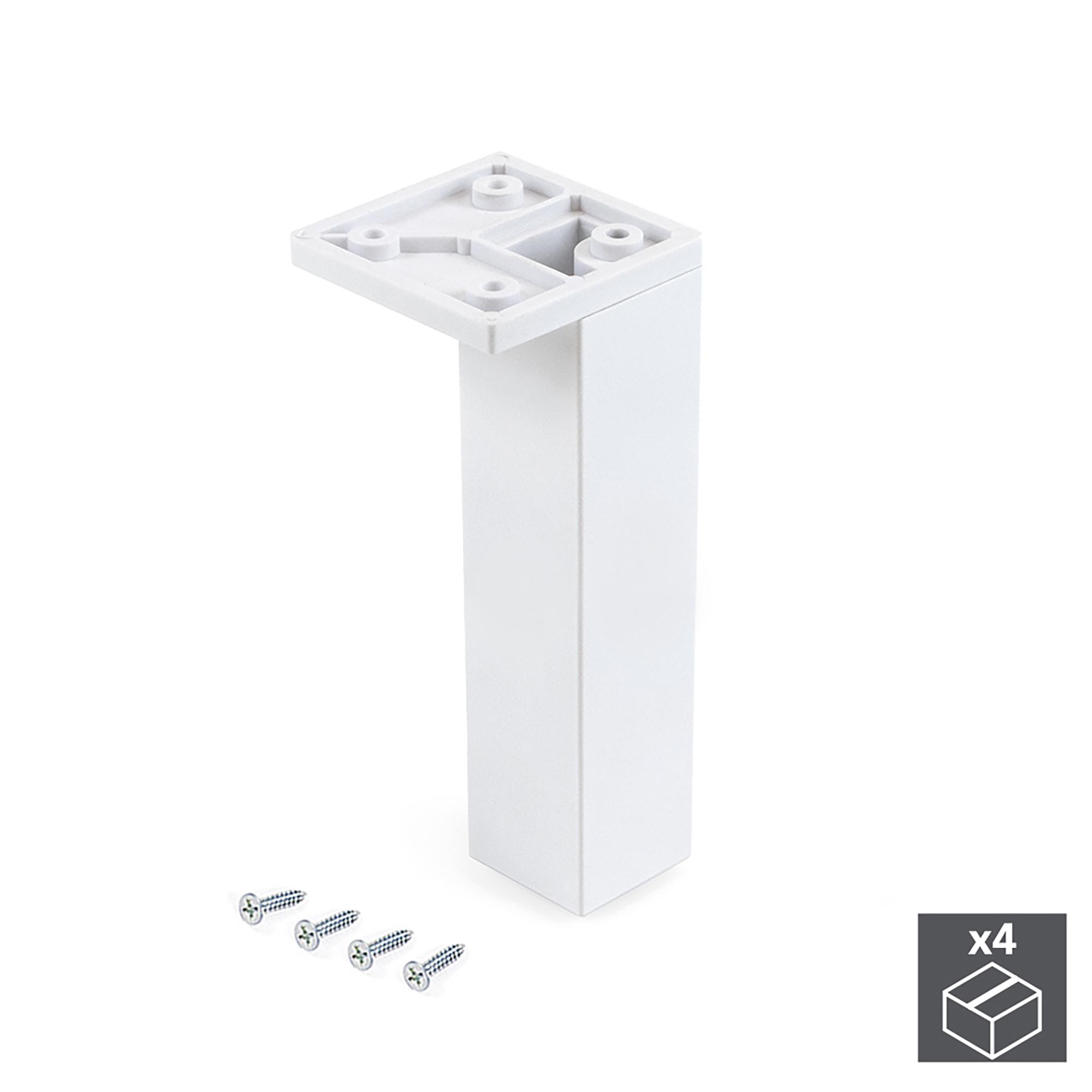 Emuca Piedino per mobile, angolo, regolabile, 140 - 150 mm, Plastica, Bianco, 4 un.