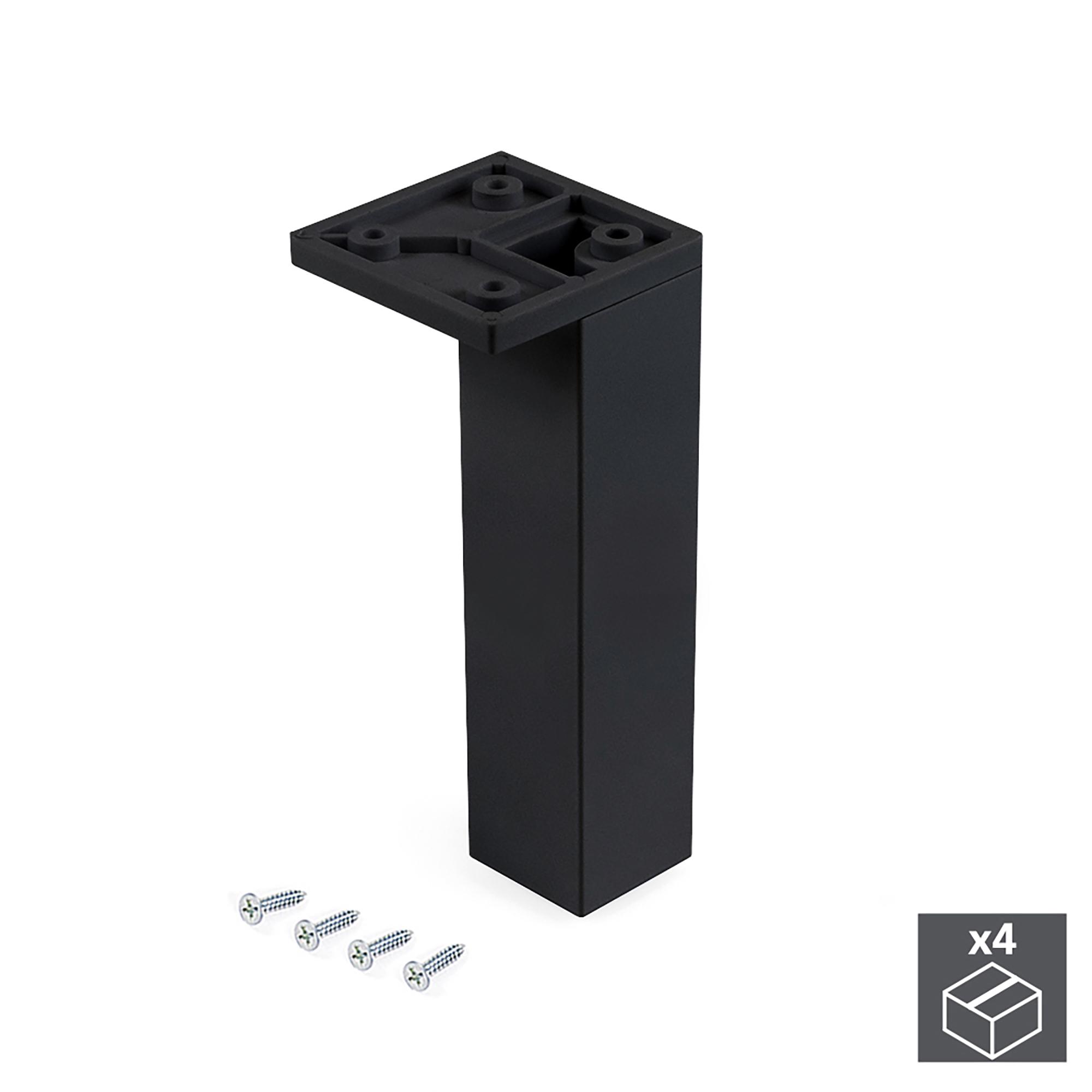 Emuca Piedino per mobile, angolo, regolabile, 140 - 150 mm, Plastica, Nero, 4 un.