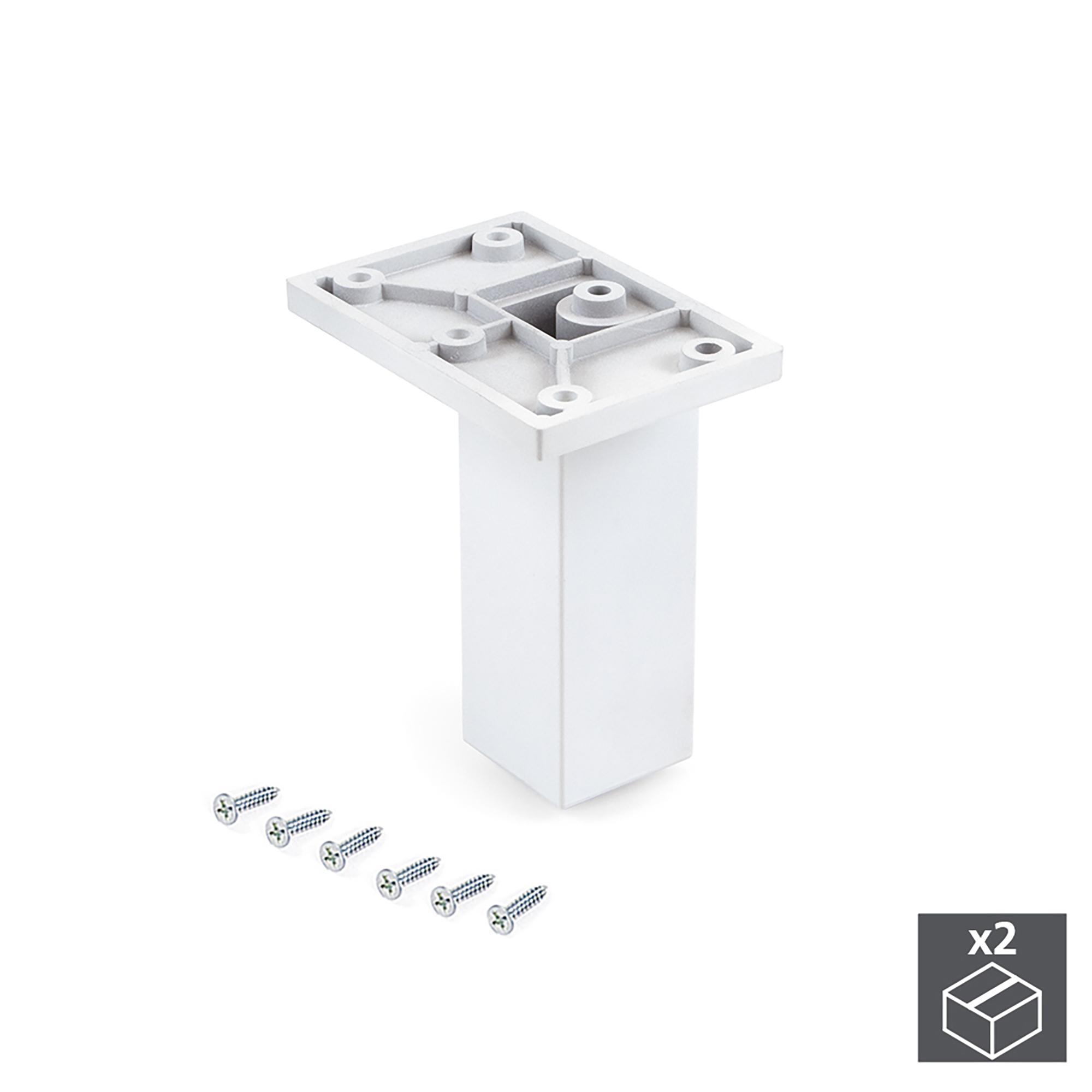 Emuca Piedino per mobile, centrale, regolabile, 100 - 110 mm, Plastica, Bianco, 2 un.