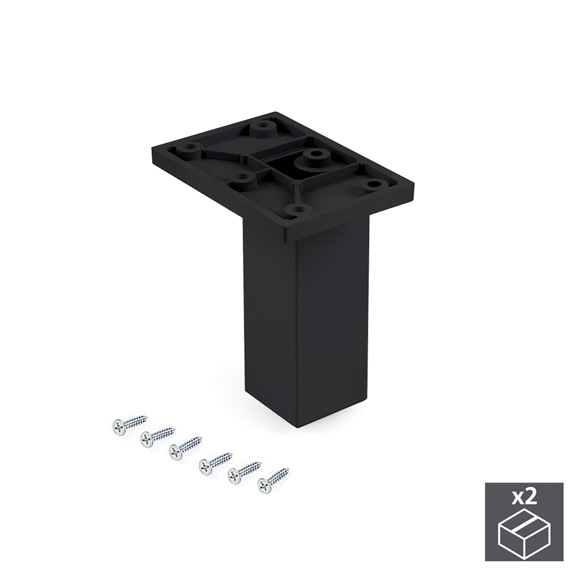 Emuca Piedino per mobile, centrale, regolabile, 100 - 110 mm, Plastica, Nero, 2 un.