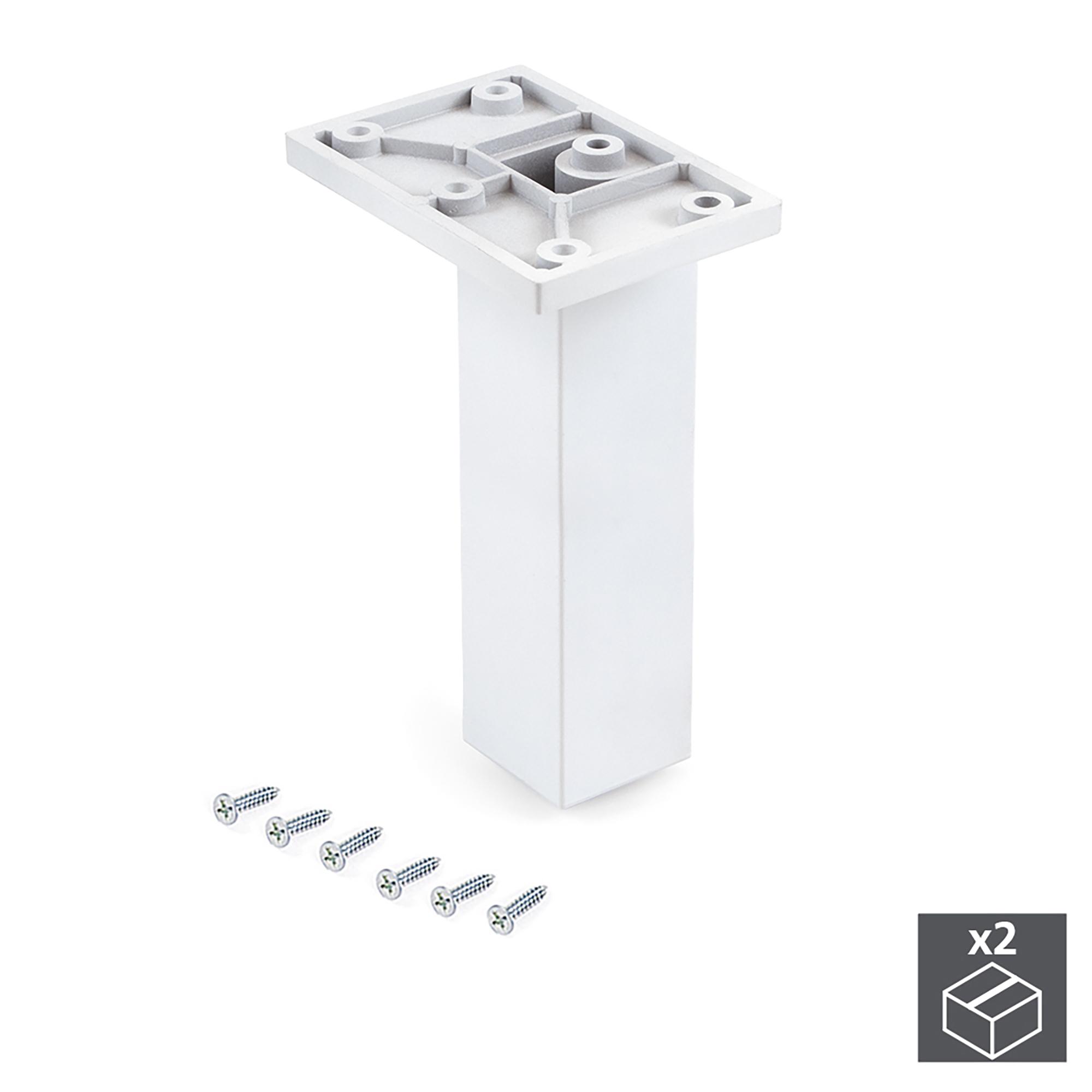 Emuca Piedino per mobile, centrale, regolabile, 140 - 150 mm, Plastica, Bianco, 2 un.