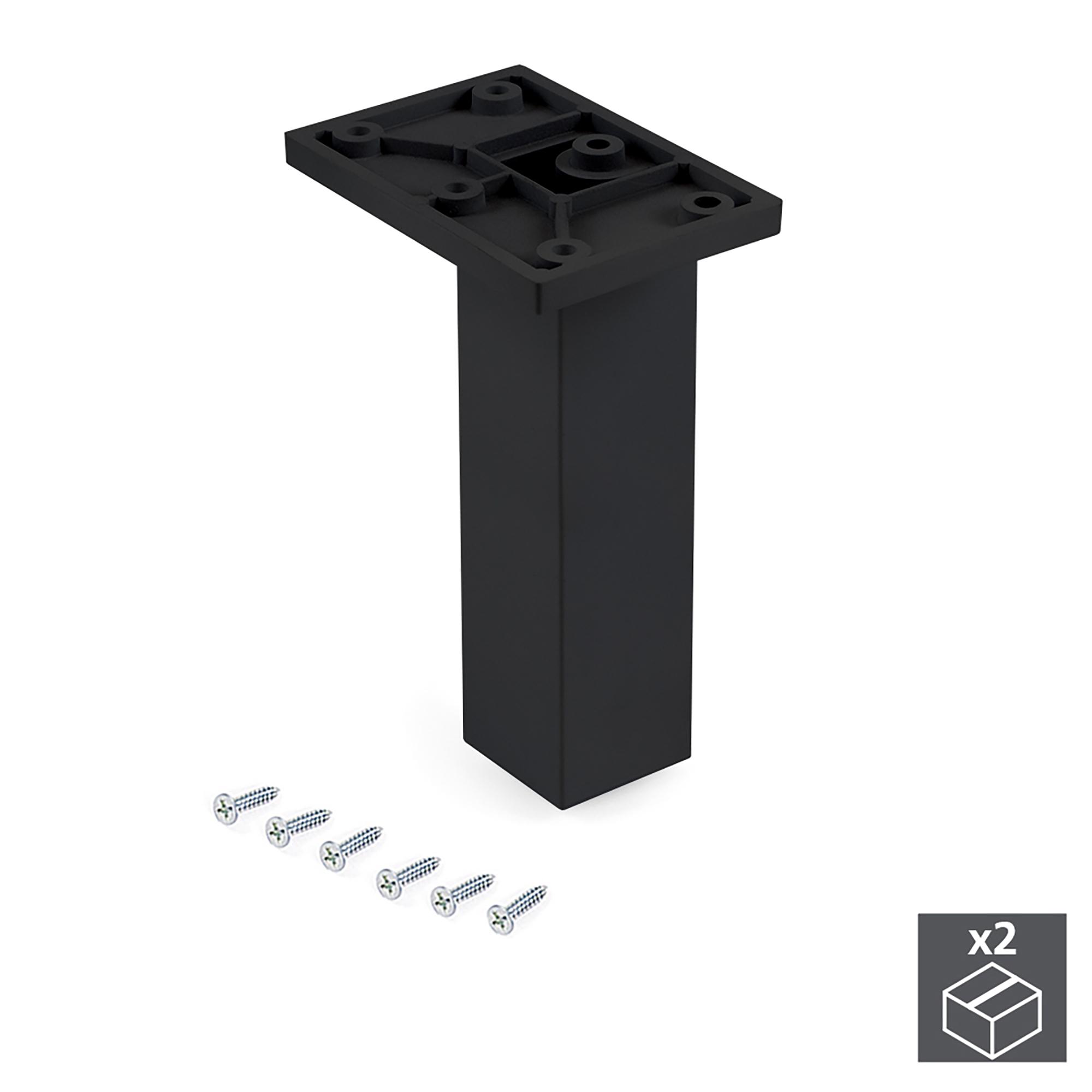 Emuca Piedino per mobile, centrale, regolabile, 140 - 150 mm, Plastica, Nero, 2 un.