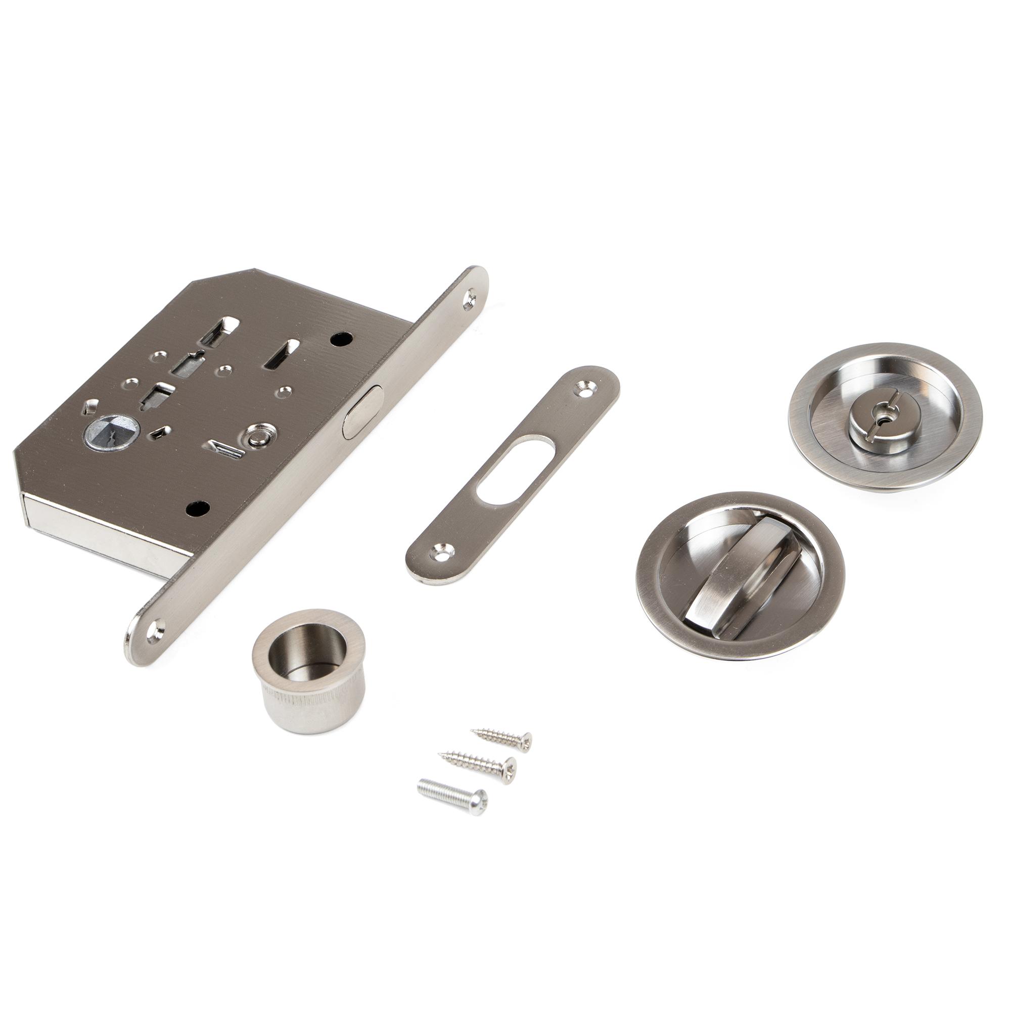 Emuca Kit di serratura con nottolino rotondo per porte scorrevole, acciaio, nichel satinato.