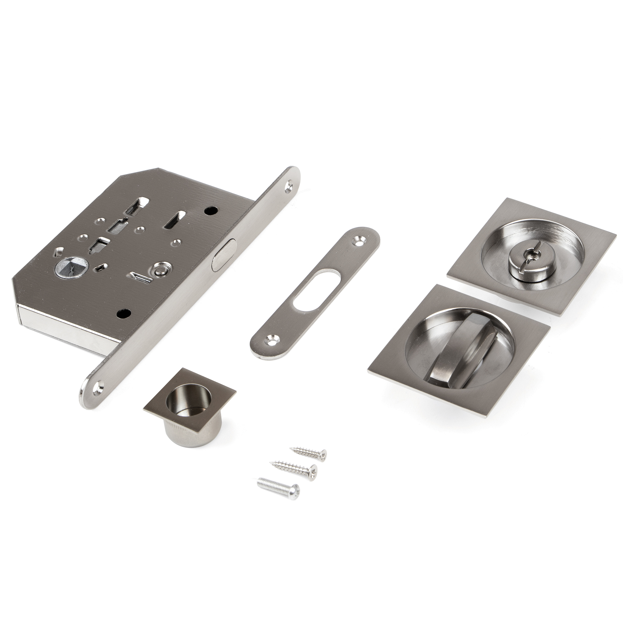 Emuca Kit di serratura con nottolino quadrato per porte scorrevole, acciaio, nichel satinato.