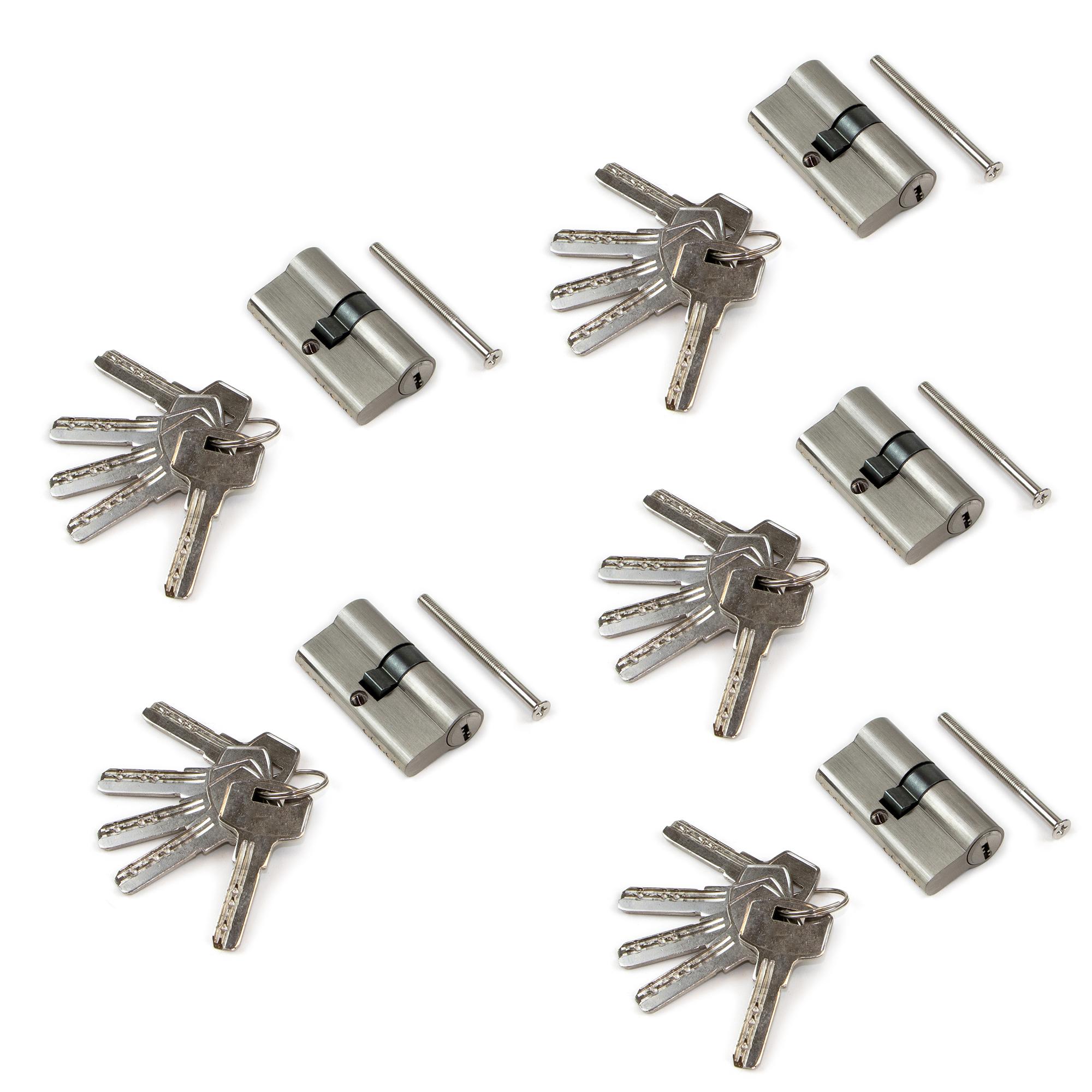 Emuca Cilindro serratura sicurezza profilo europeo per porta, 30+30 mm, frizione semplice, leva lunga, 5 chiavi, alluminio, nich