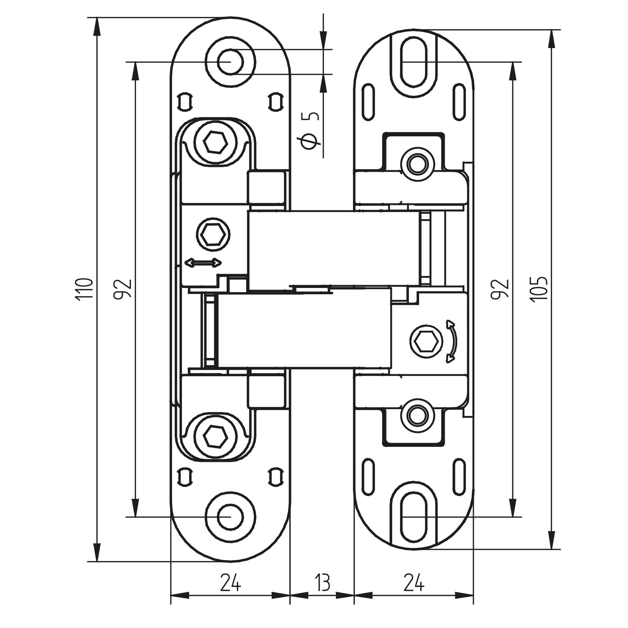Emuca Cerniere a scomparsa per porte di passaggio, carico di 60 Kg, apertura 180º, zama, grigio metallizzato, 2 un.