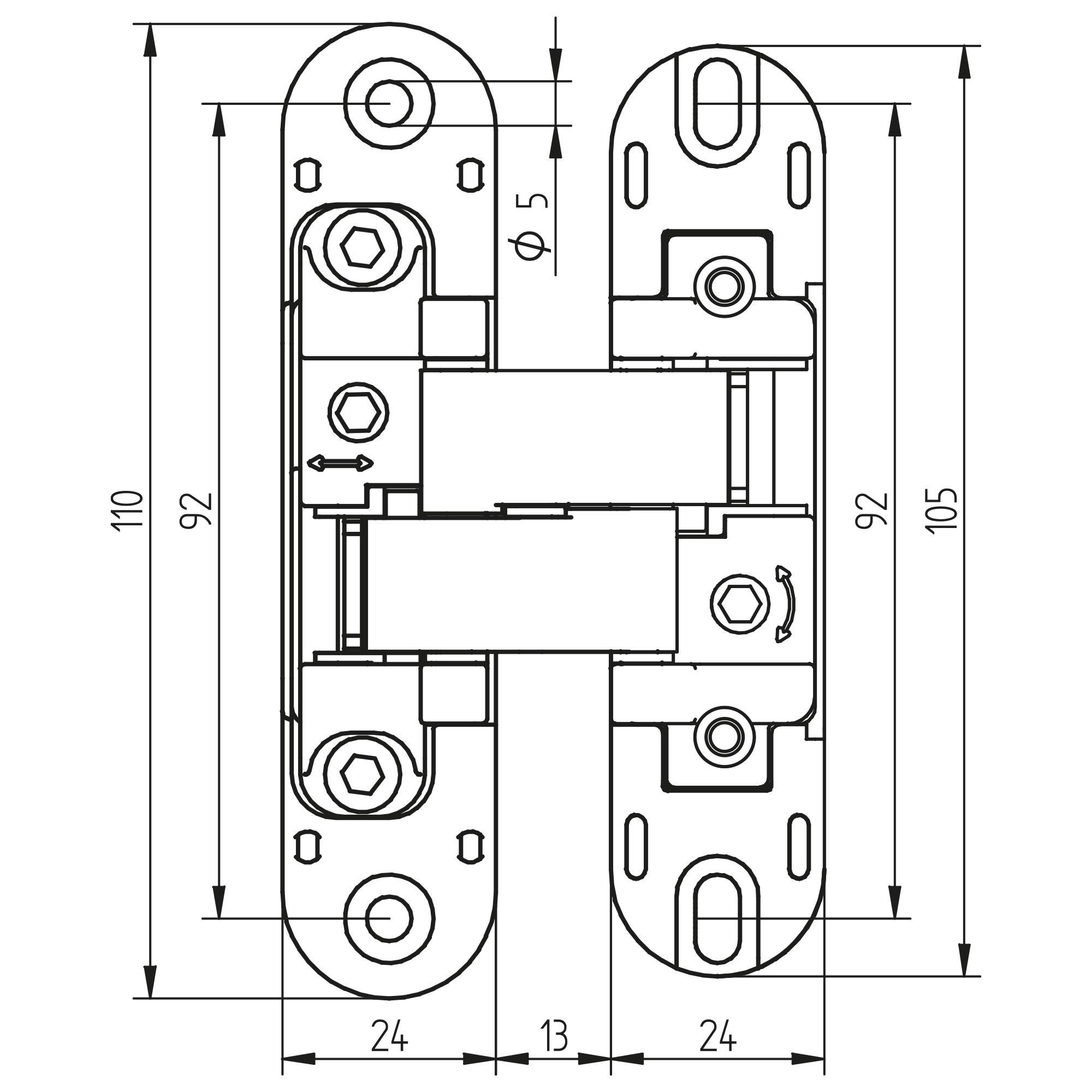 Emuca Cerniere a scomparsa per porte di passaggio, carico di 80 Kg, apertura 180º, zama, grigio metallizzato, 2 un.