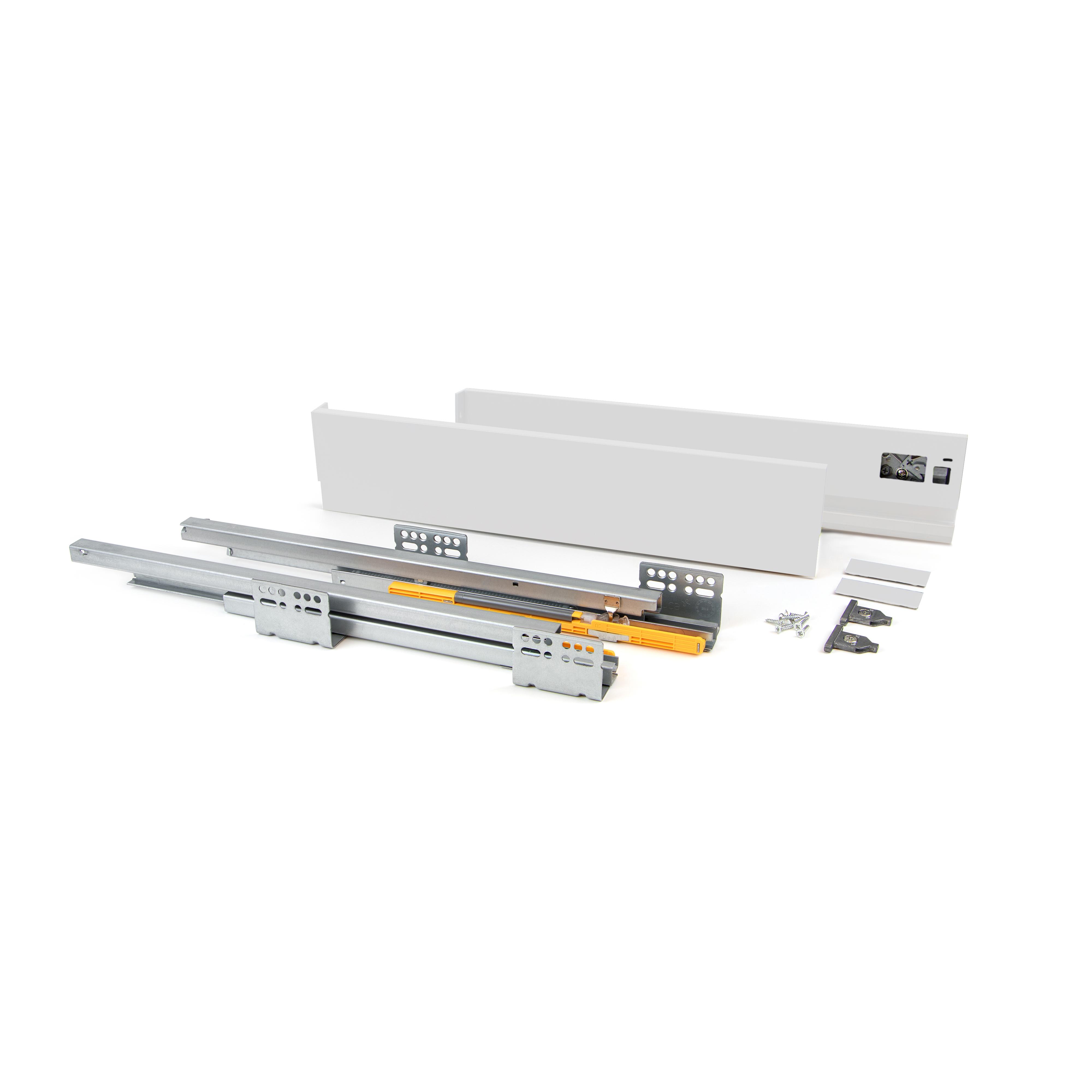 Emuca Kit cassetto per cucina Concept, altezza 105 mm, prof. 350 mm, chiusura soft, Acciaio, Bianco
