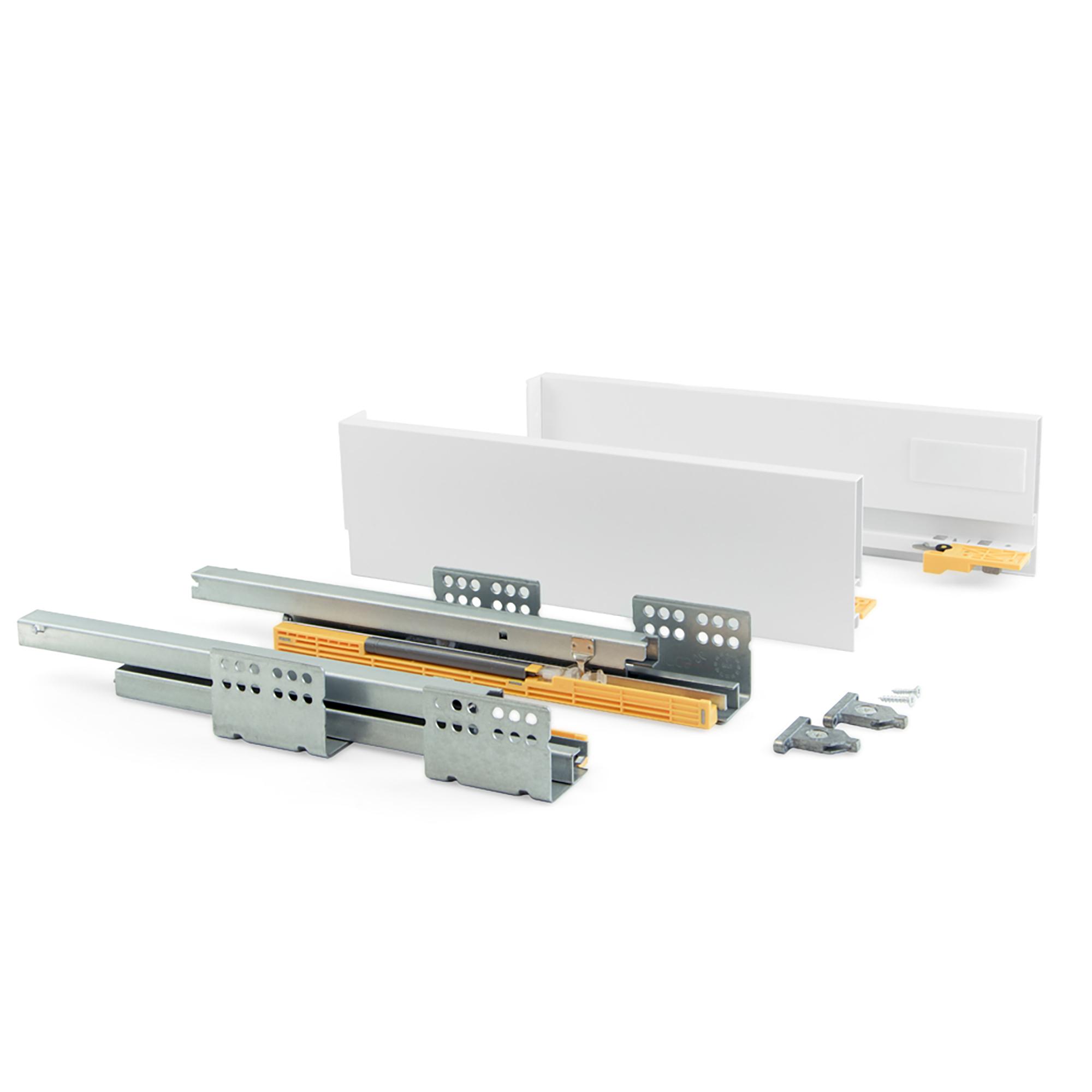 Emuca Kit cassetto per cucina Concept, altezza 105 mm, prof. 450 mm, chiusura soft, Acciaio, Bianco