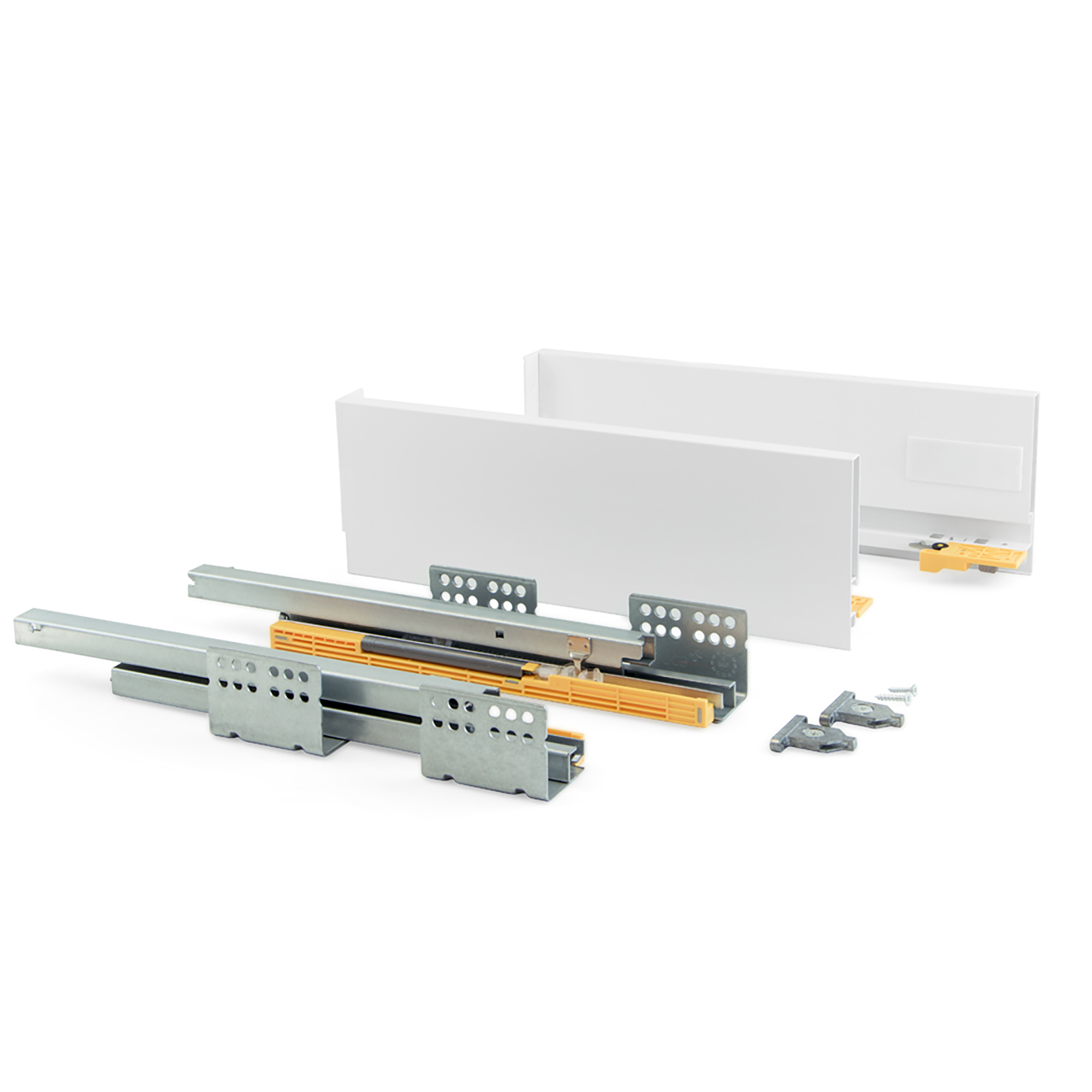 Emuca Kit cassetto per cucina Concept, 50 Kg, altezza 138 mm, prof. 500 mm, chiusura soft, Acciaio, Bianco