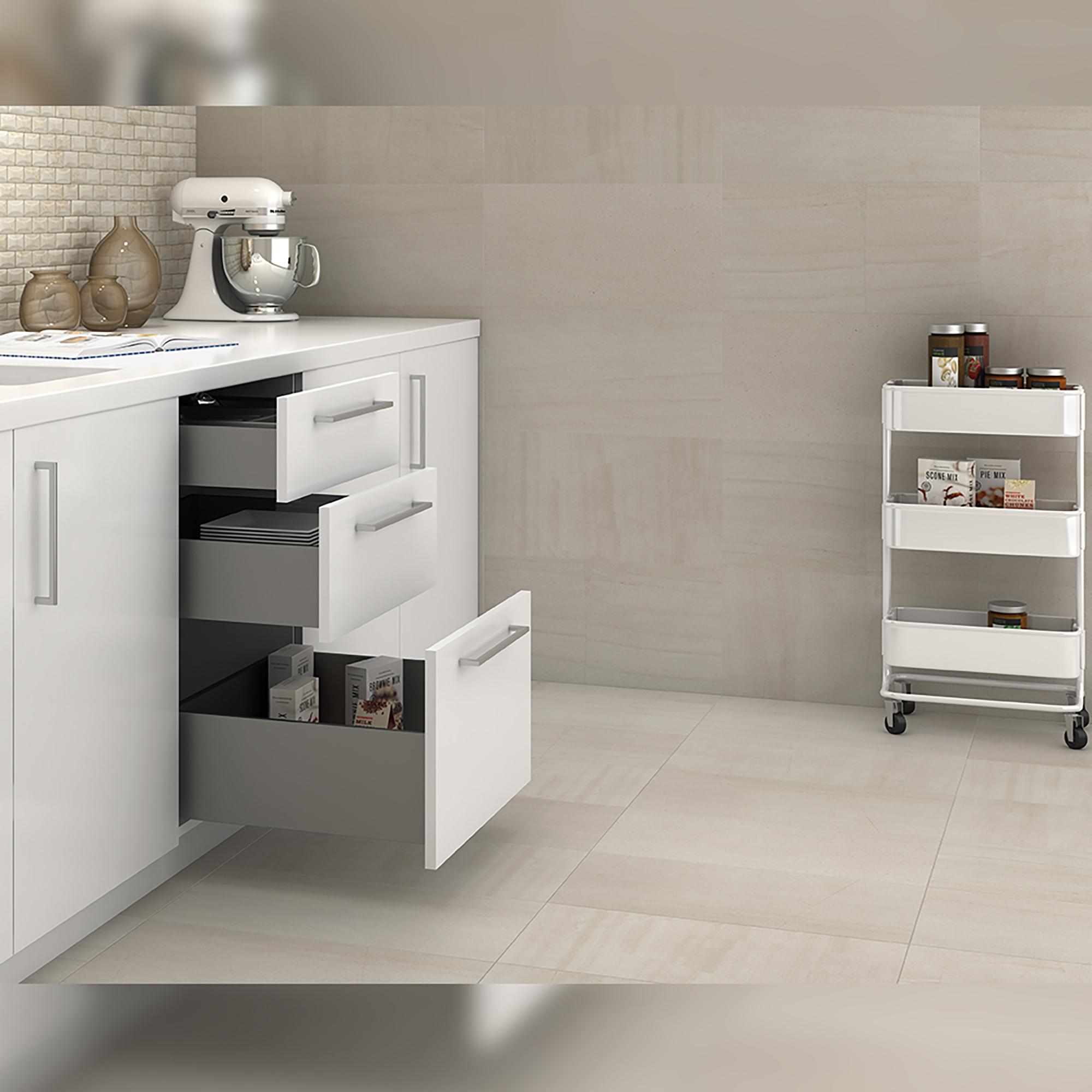 Emuca Kit cassetto per cucina Concept, altezza 105 mm, prof. 350 mm, chiusura soft, Acciaio, Grigio antracite