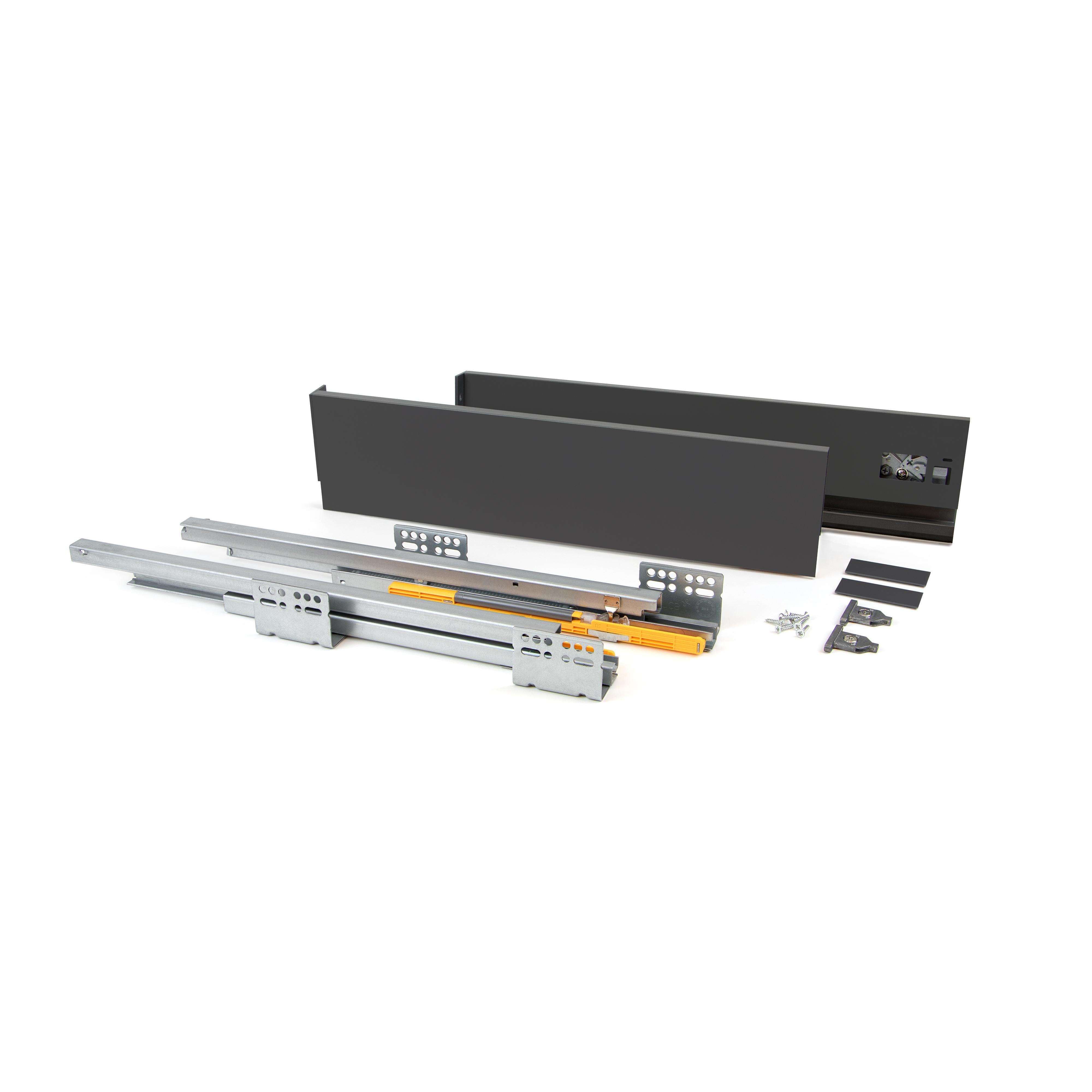 Emuca Kit cassetto per cucina Concept, 50 Kg, altezza 105 mm, prof. 500 mm, chiusura soft, Acciaio, Grigio antracite