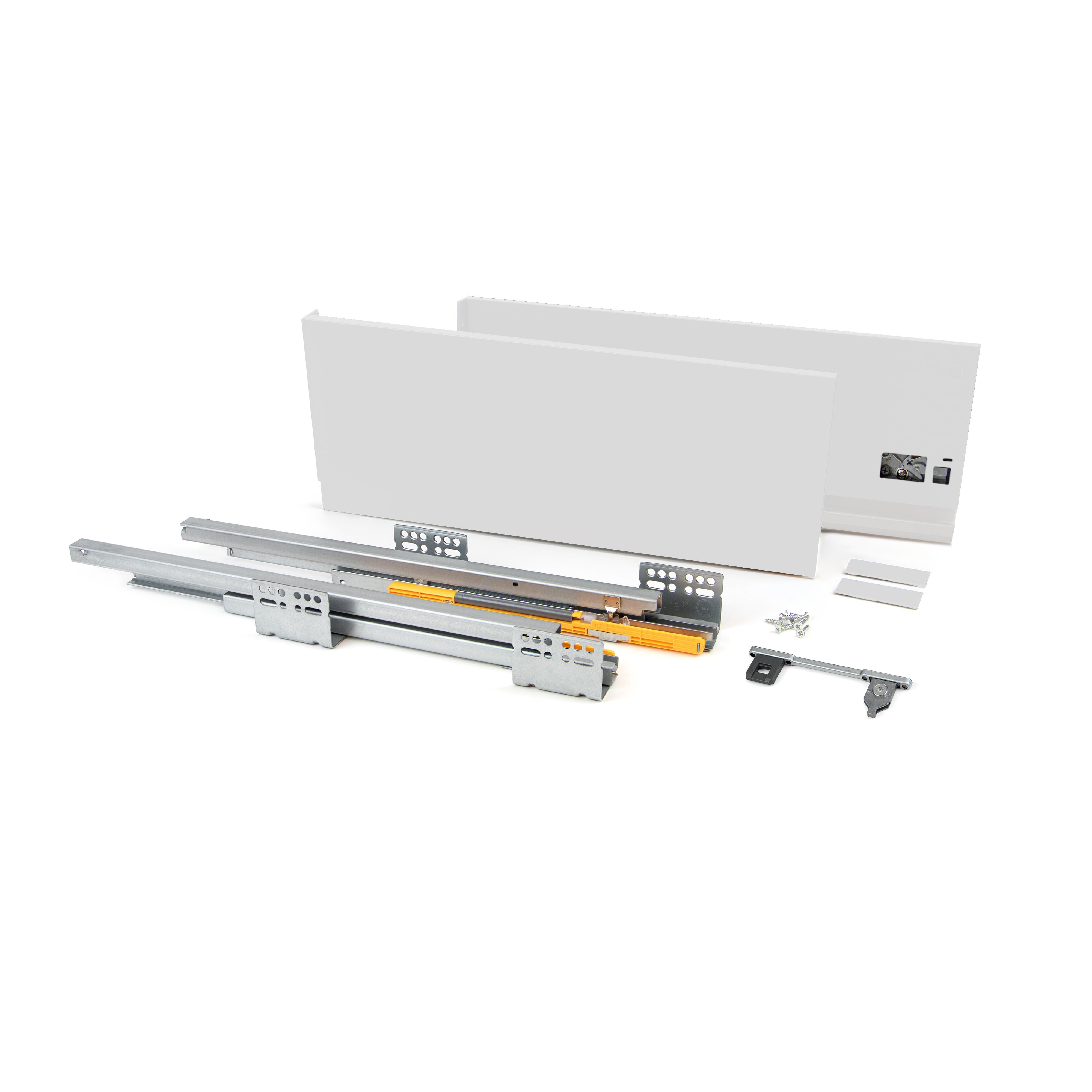 Emuca Kit cassetto per cucina Concept, 50 Kg, altezza 138 mm, prof. 500 mm, chiusura soft, Acciaio, Grigio antracite