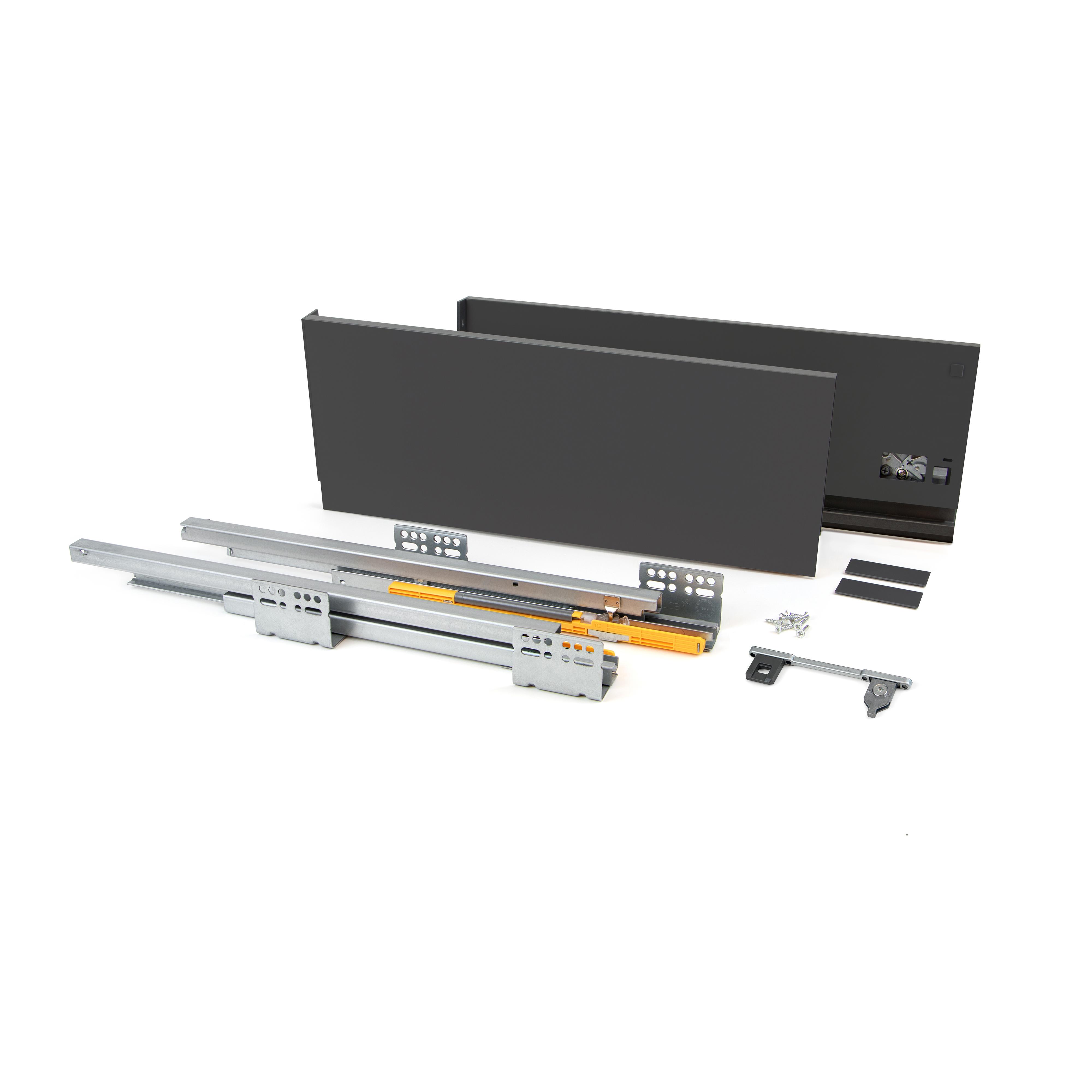 Emuca Kit cassetto per cucina Concept, 50 Kg, altezza 185 mm, prof. 500 mm, chiusura soft, Acciaio, Grigio antracite