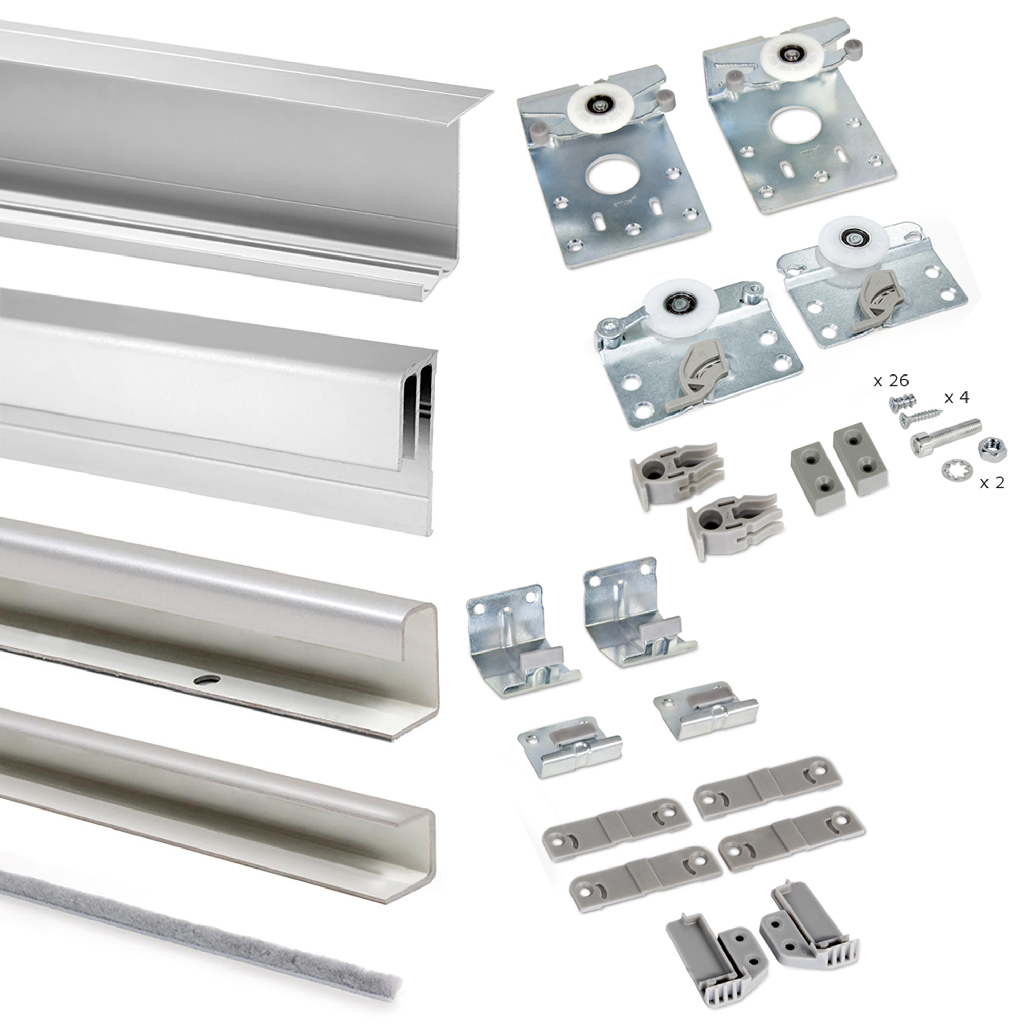 Emuca Sistema scorrevole per armadio 2 ante sospese, spessore 16 mm, antideragliamento, Profili Alluminio, Grigio metallizzato