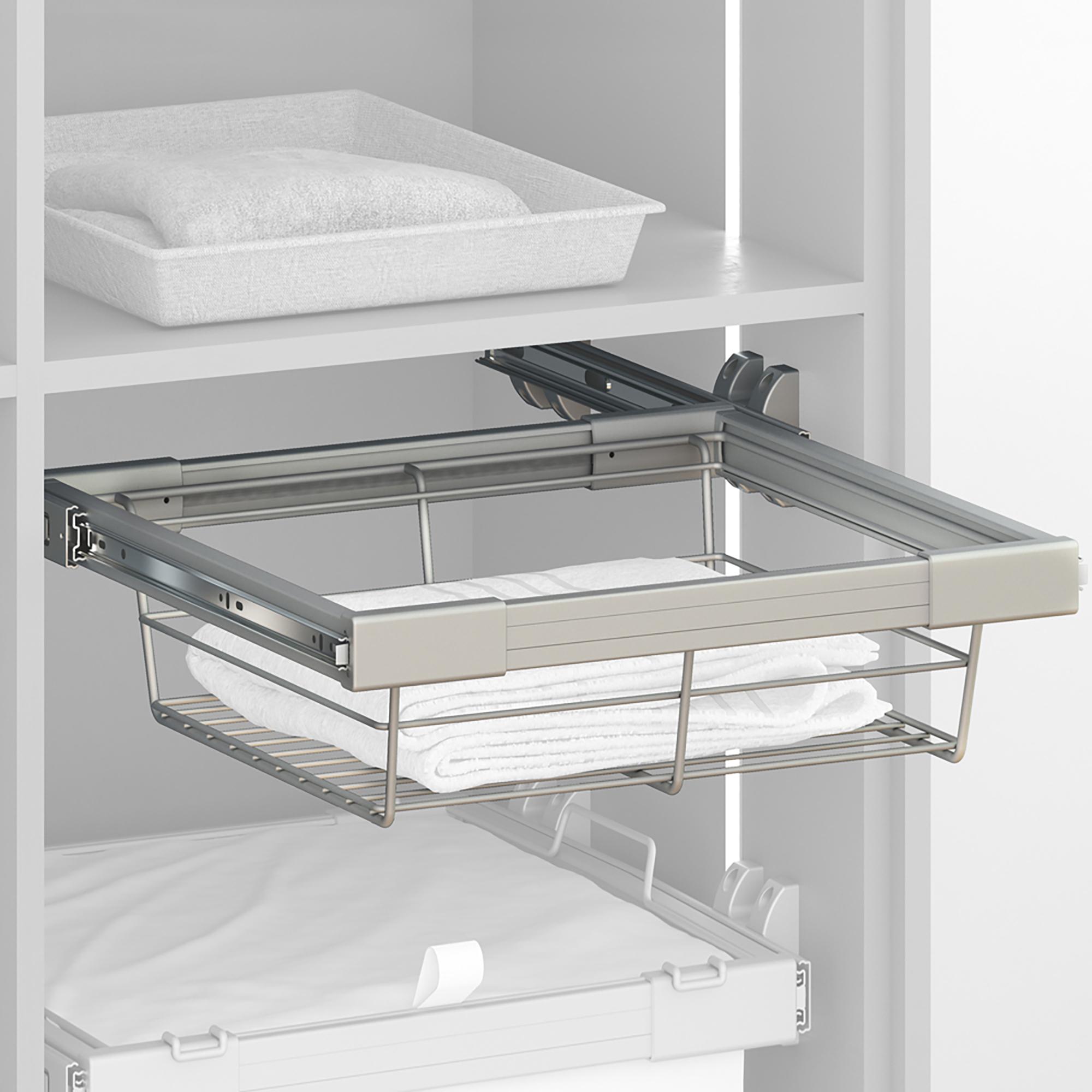 Emuca Kit Cassetto metallico con guide, regolabile, modulo di 900 mm, Acciaio e alluminio, Grigio metallizzato
