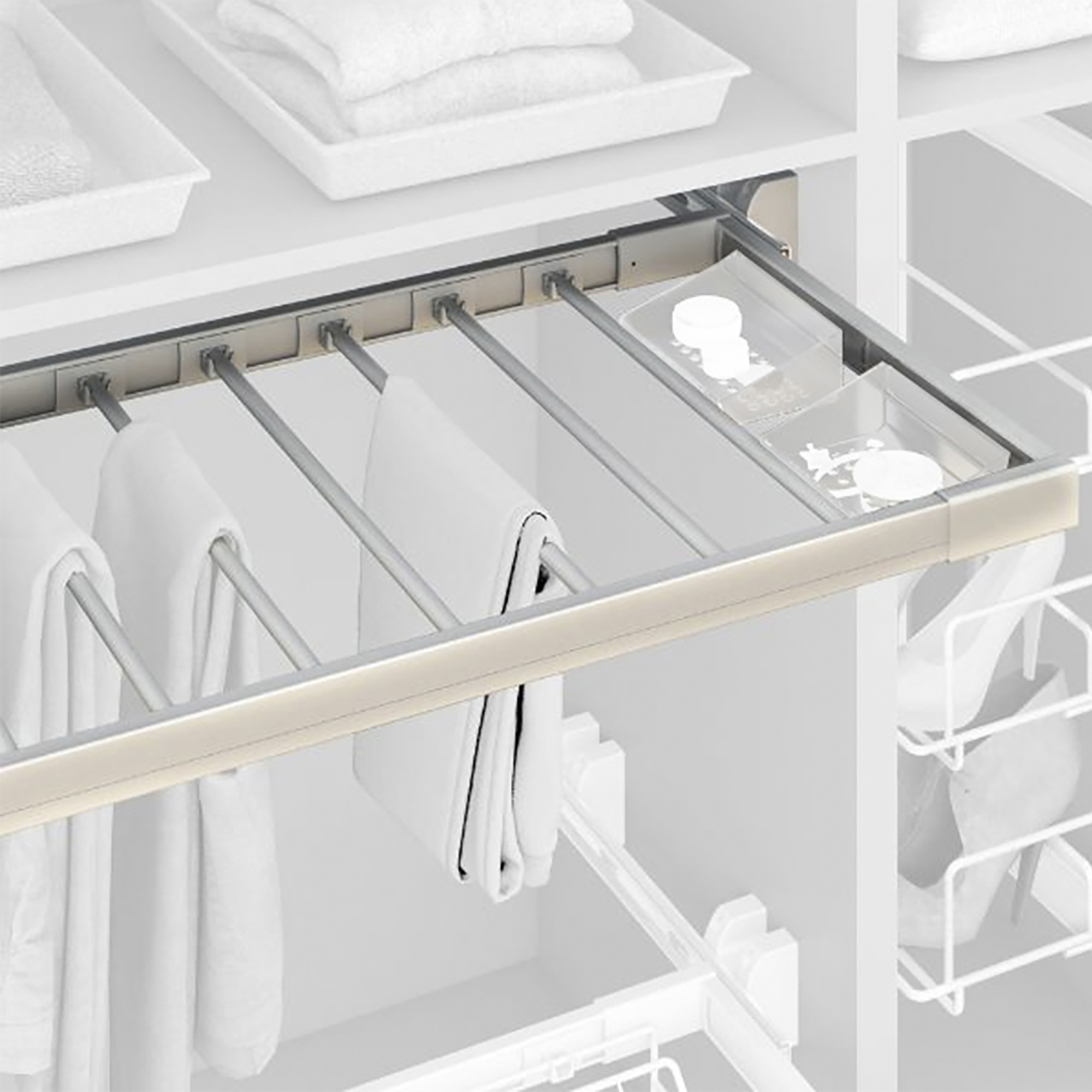 Emuca Porta Pantaloni estraibile, regolabile, modulo di 600 mm, 7 grucce, Alluminio e Acciaio, Anodizzato opaco