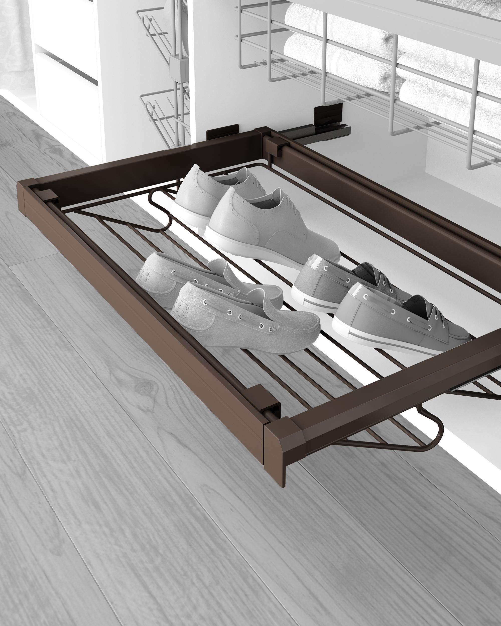 Emuca Kit Porta scarpe metallico con guide, regolabile, modulo di 900 mm, Acciaio e Alluminio, Color moka