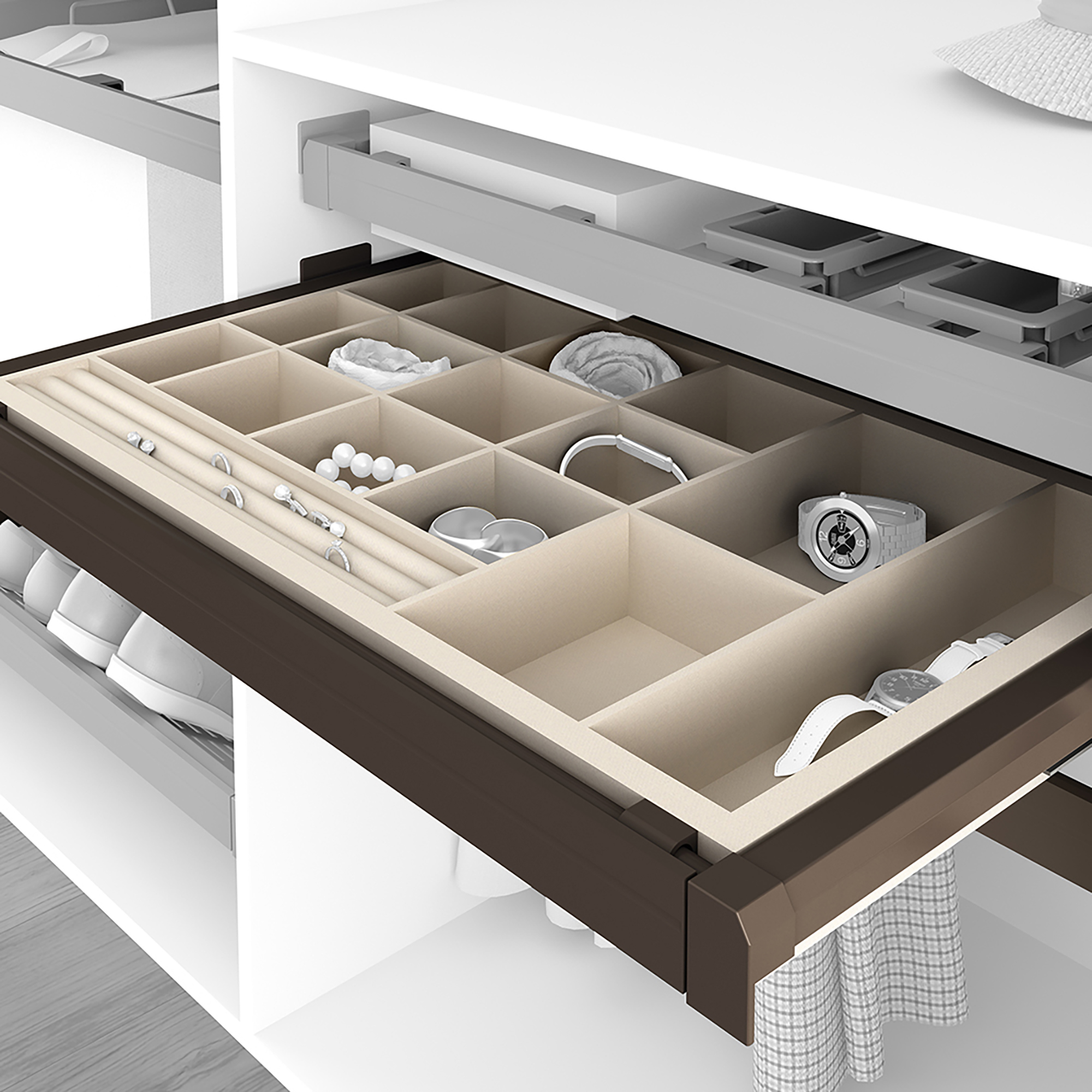 Emuca Kit Portagioielli con guide, regolabile, modulo di 600 mm, Acciaio e Alluminio, Color moka