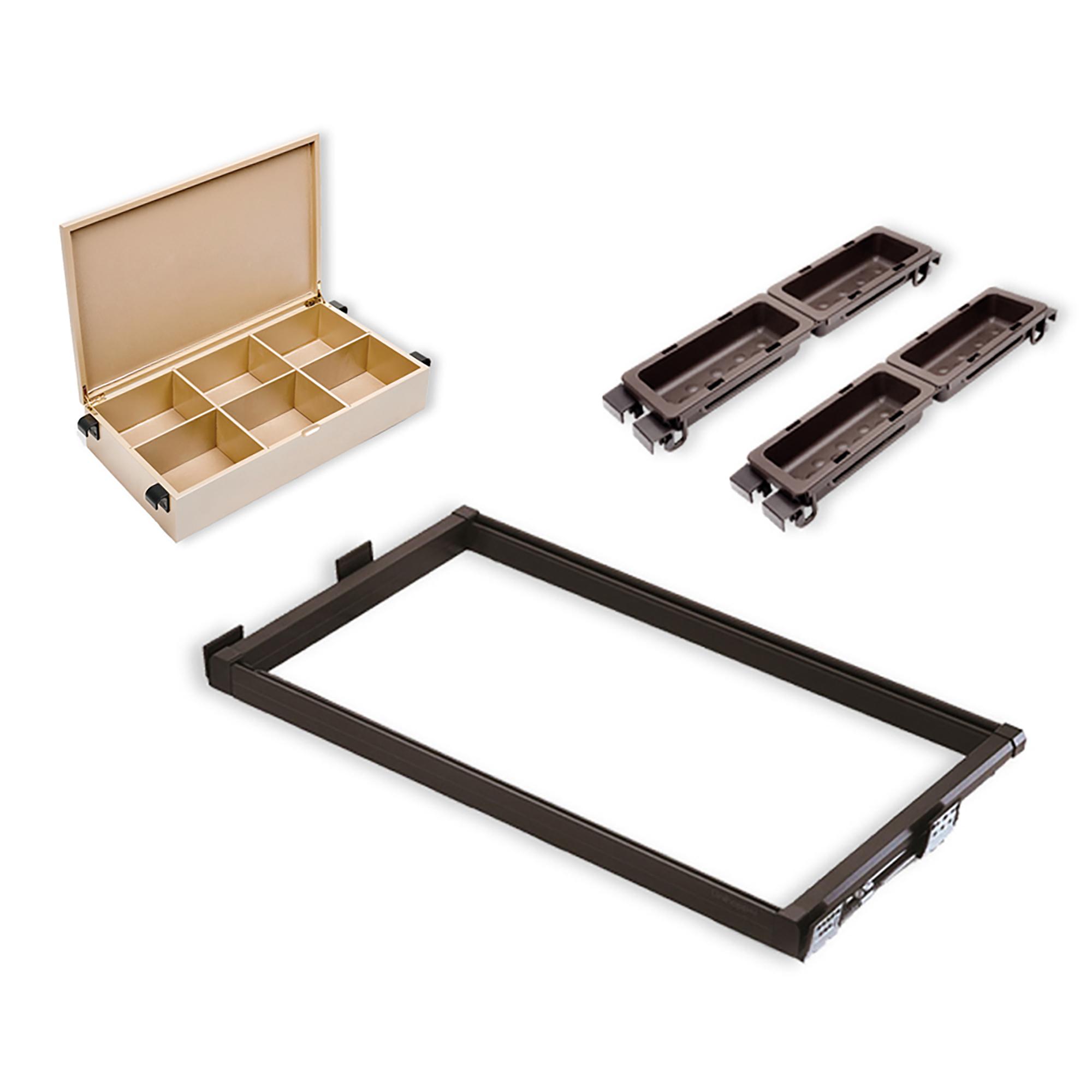 Emuca Kit contenitore a scomparti per armadio, vaschette ausiliari e guide, regolabile 564-614 mm, Color moka