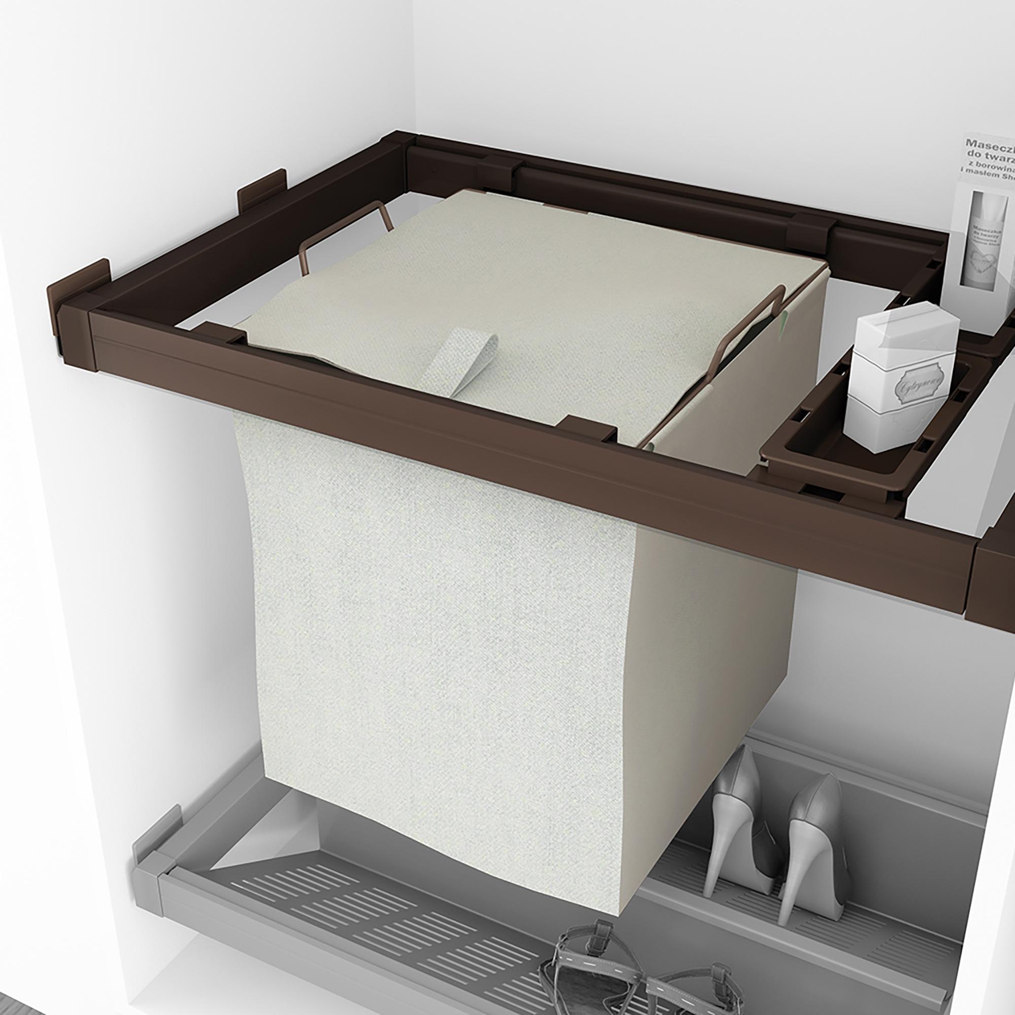 Emuca Kit Cesta per bucato con guide e vaschette ausiliari per armadio, regolabile, 564-614 mm, Color moka
