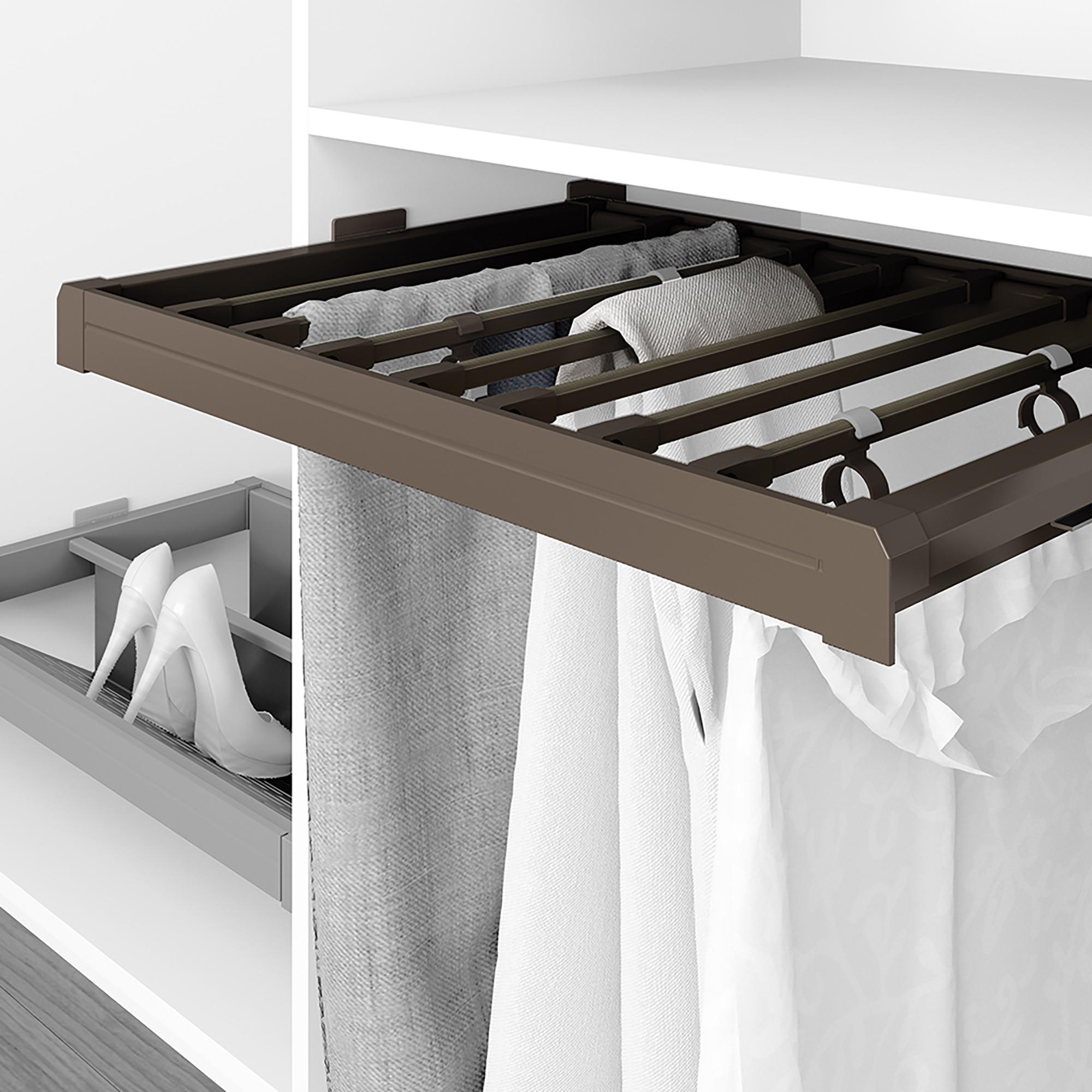Emuca Porta pantaloni estraibile, regolabile, modulo di 800 mm, 7 grucce, Alluminio e Acciaio, Color moka