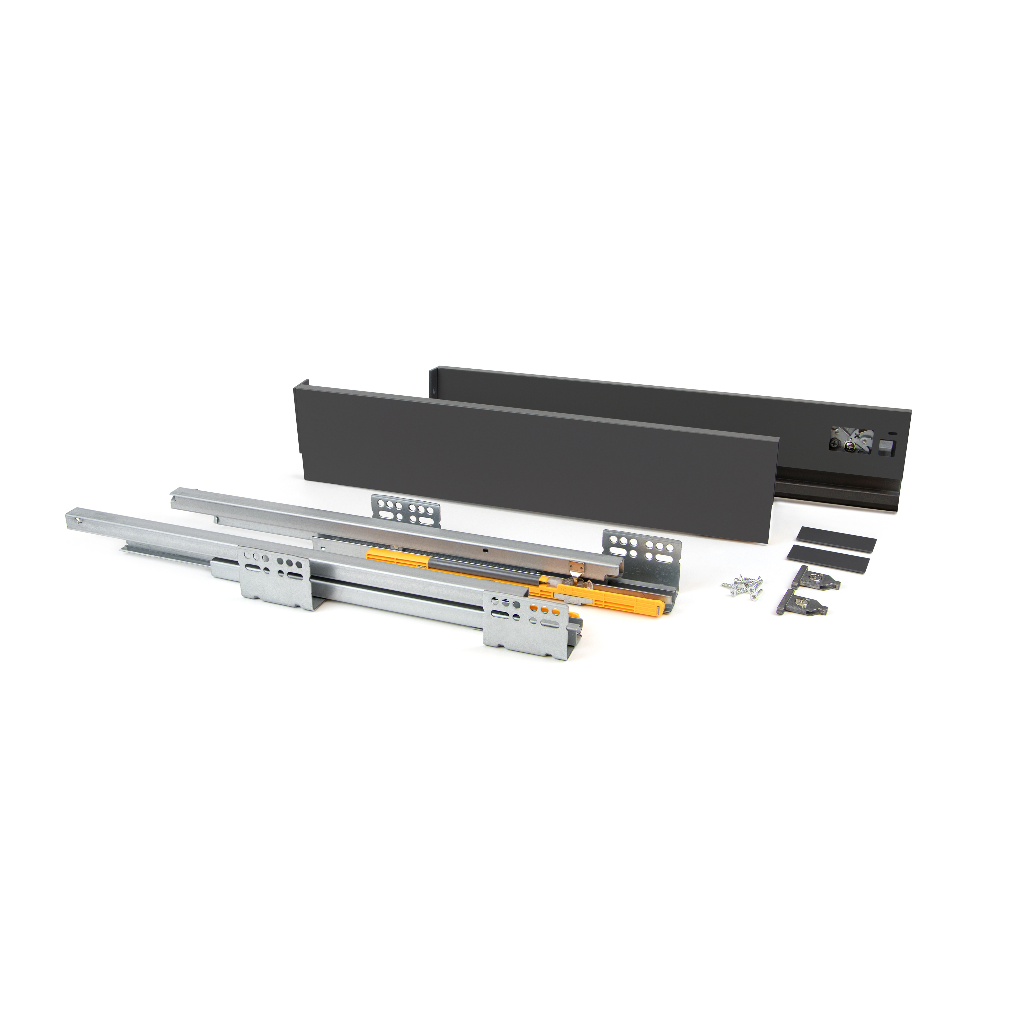 Emuca Kit cassetto per cucina Concept, altezza 105 mm, prof. 400 mm, chiusura soft, Acciaio, Grigio antracite