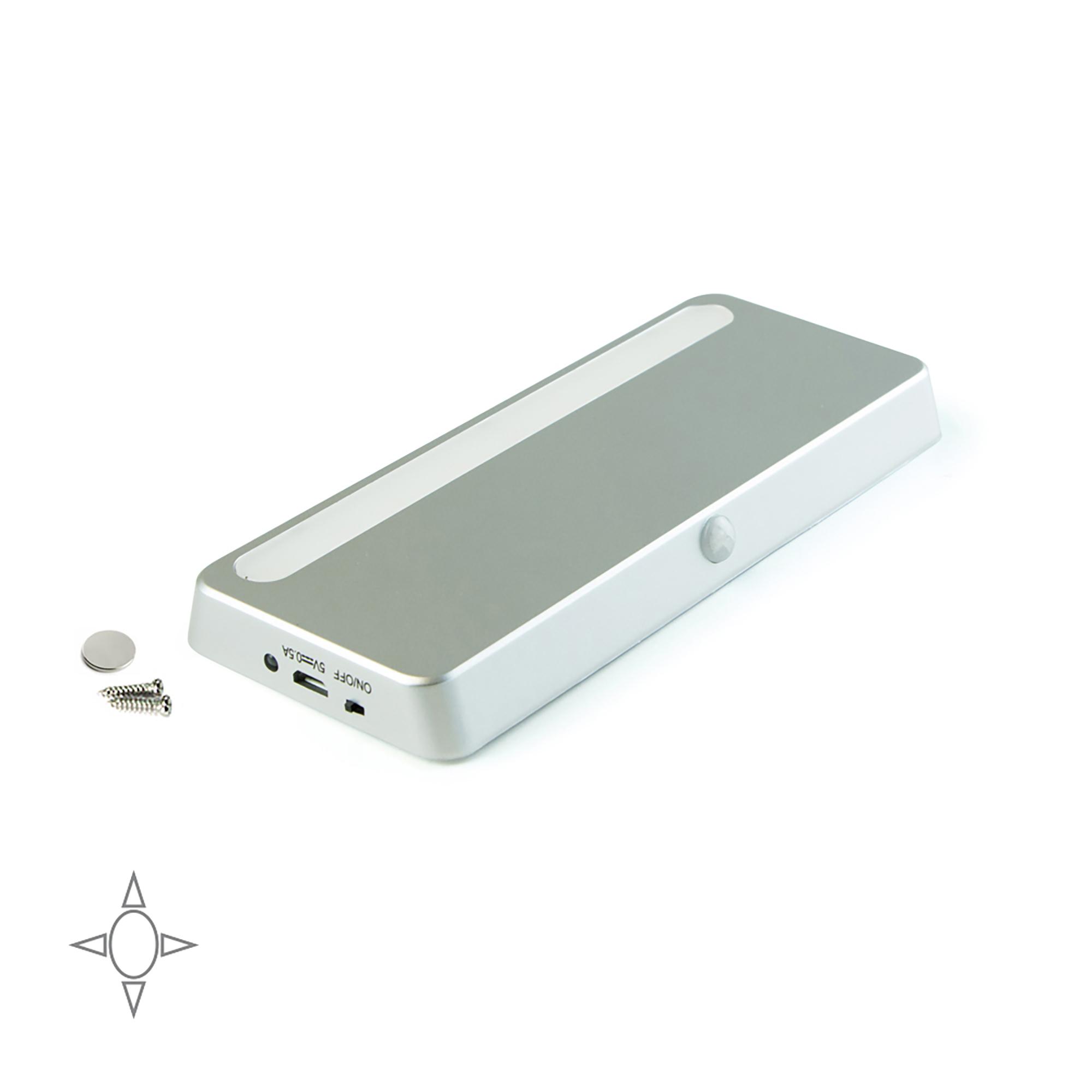 Emuca Luce LED ricaricabile, sensore di movimento, Luce bianca naturale, Plastica, Grigio metallizzato
