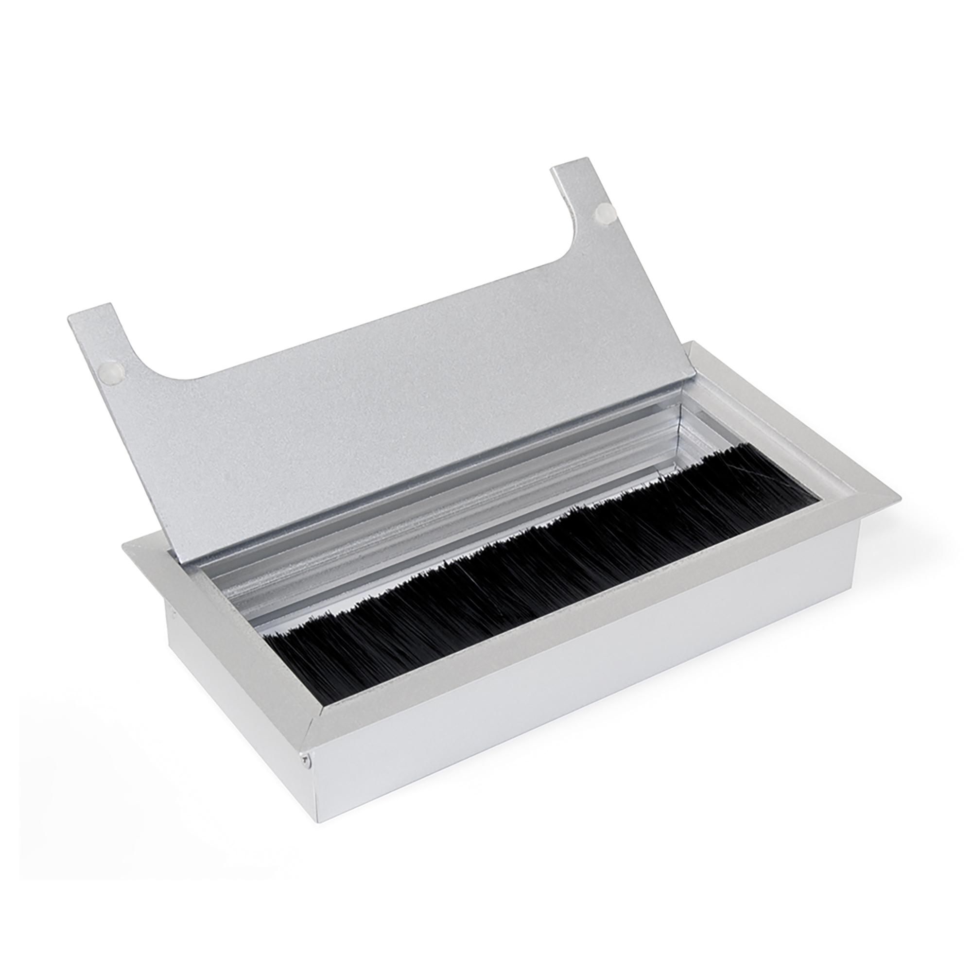 Emuca Passacavi da tavolo, rettangolare, 269 x 80 mm, a incasso, Alluminio, Anodizzato opaco