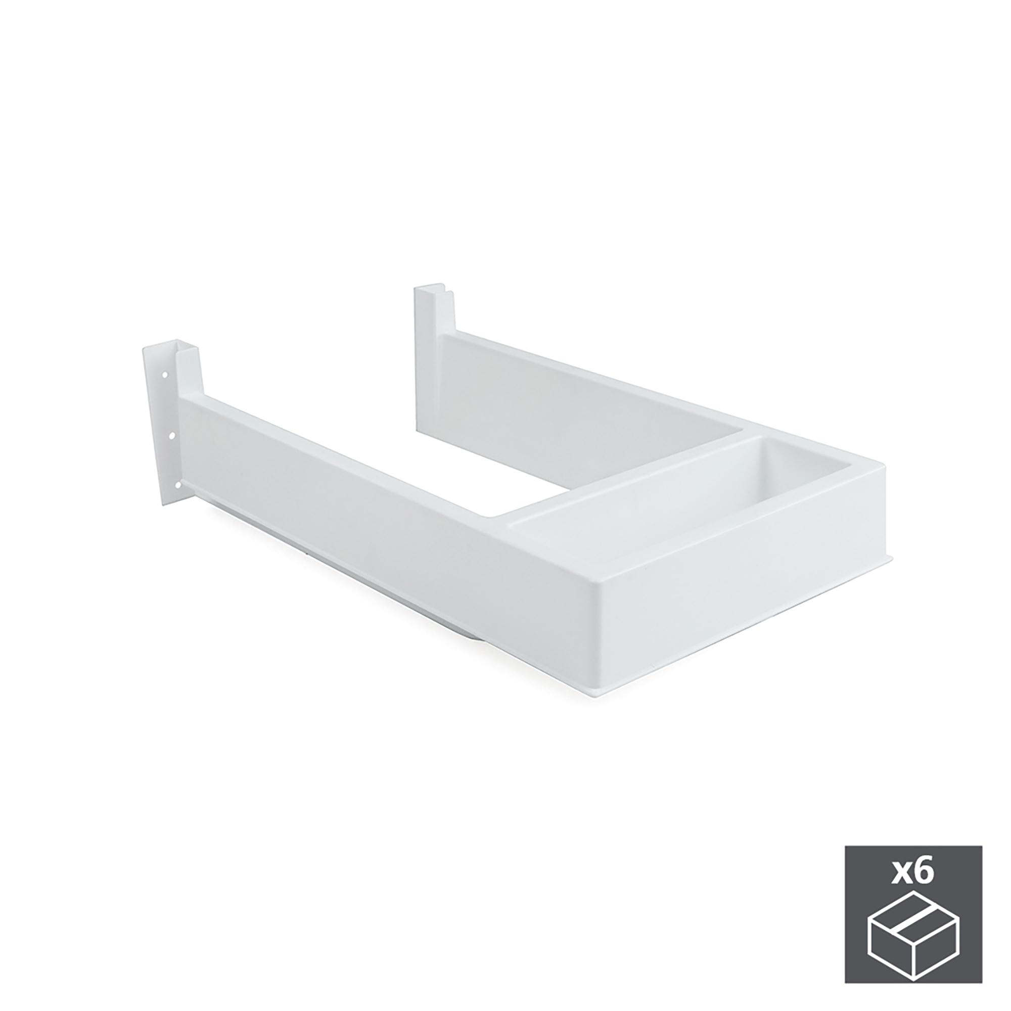 Emuca Salva sifone per cassetti del bagno, rettangolare, Plastica, Bianco, 6 u.