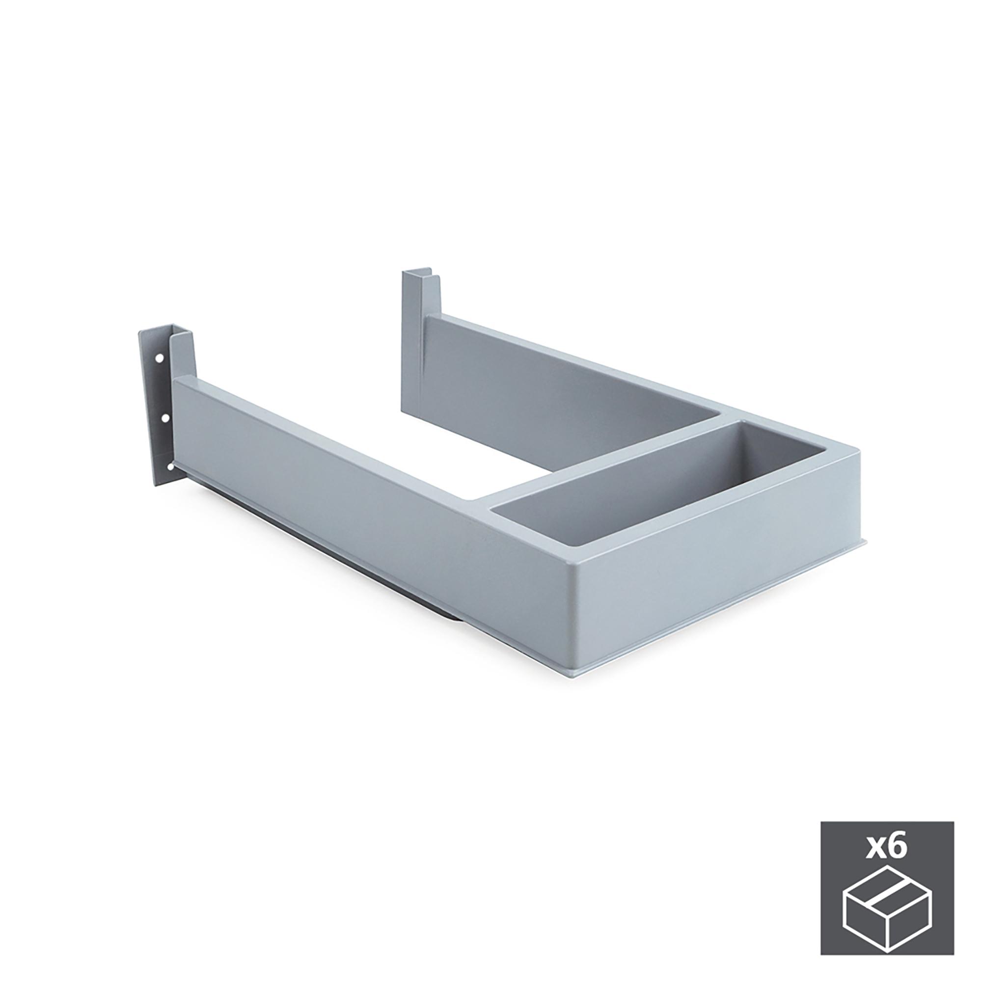 Emuca Salva sifone per cassetti del bagno, rettangolare, Plastica, Grigio, 6 u.